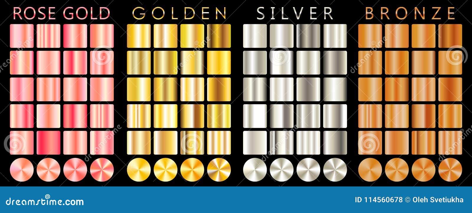 Розовое золото, золотой, серебряный, бронзовый градиент, картина, шаблон Комплект цветов для дизайна, собрания высококачественных