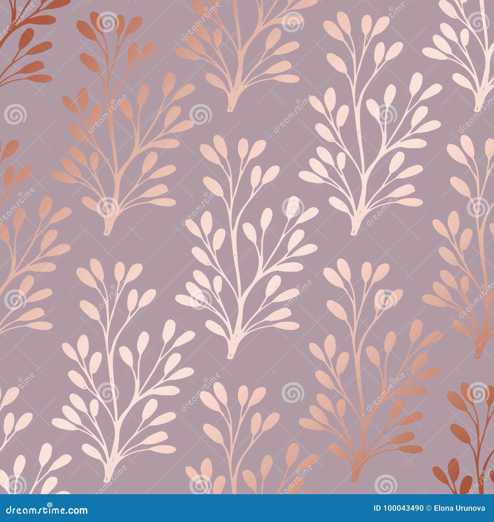 Розовое золото Элегантный декоративный цветочный узор для печатать