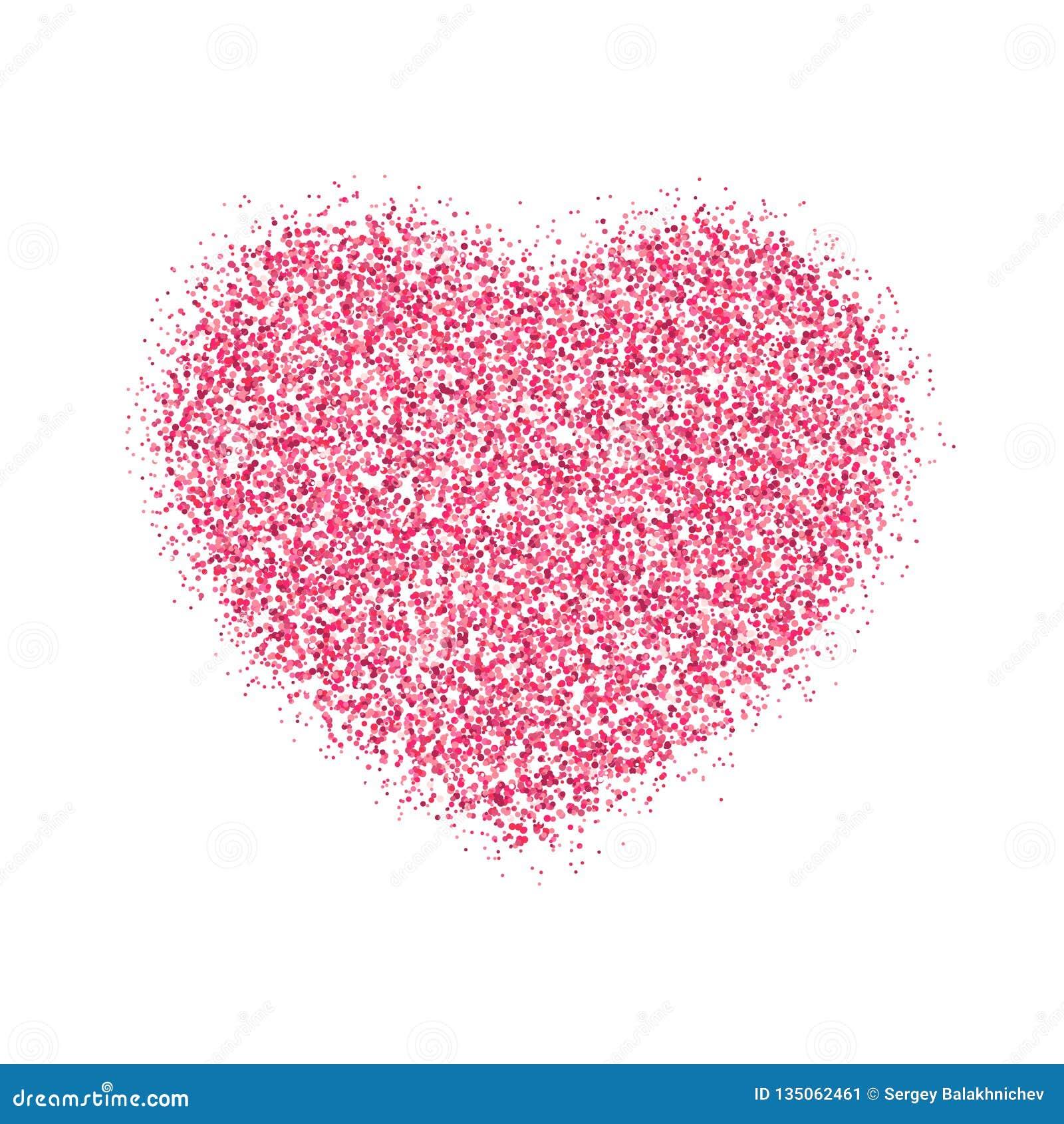 Розовое сердце розовых ярких блесков на день Валентайн Графический элемент изолированный на белой предпосылке Гениальное illustra
