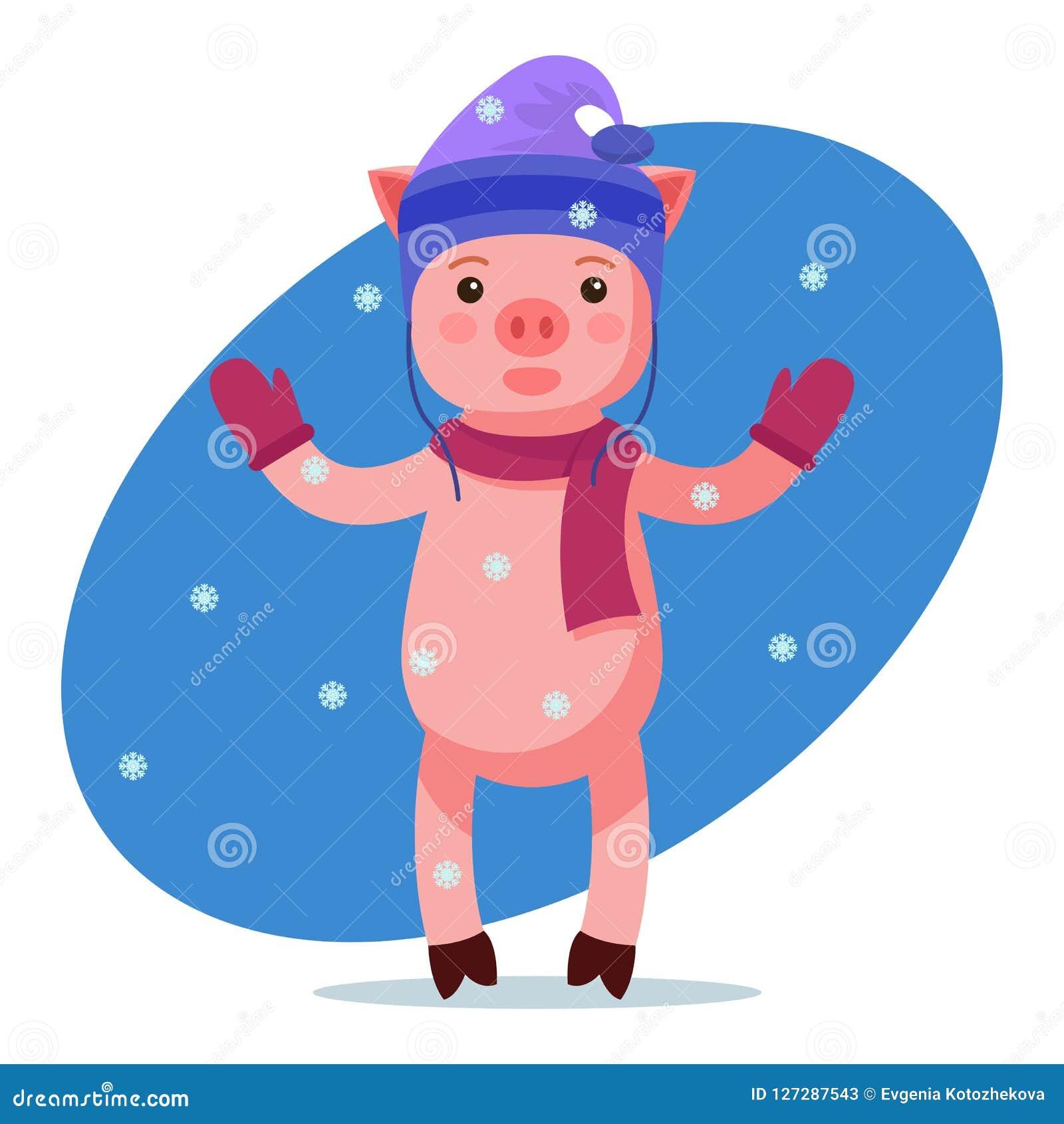 Розовое piggy смотрящ падая снег