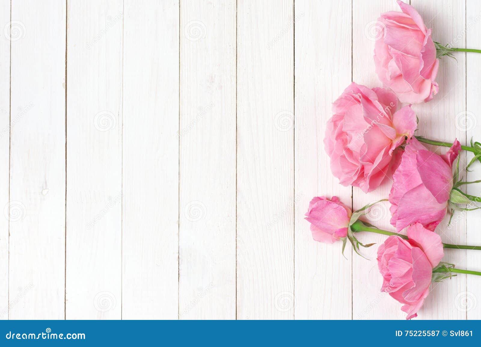 Розовые розы на древесине