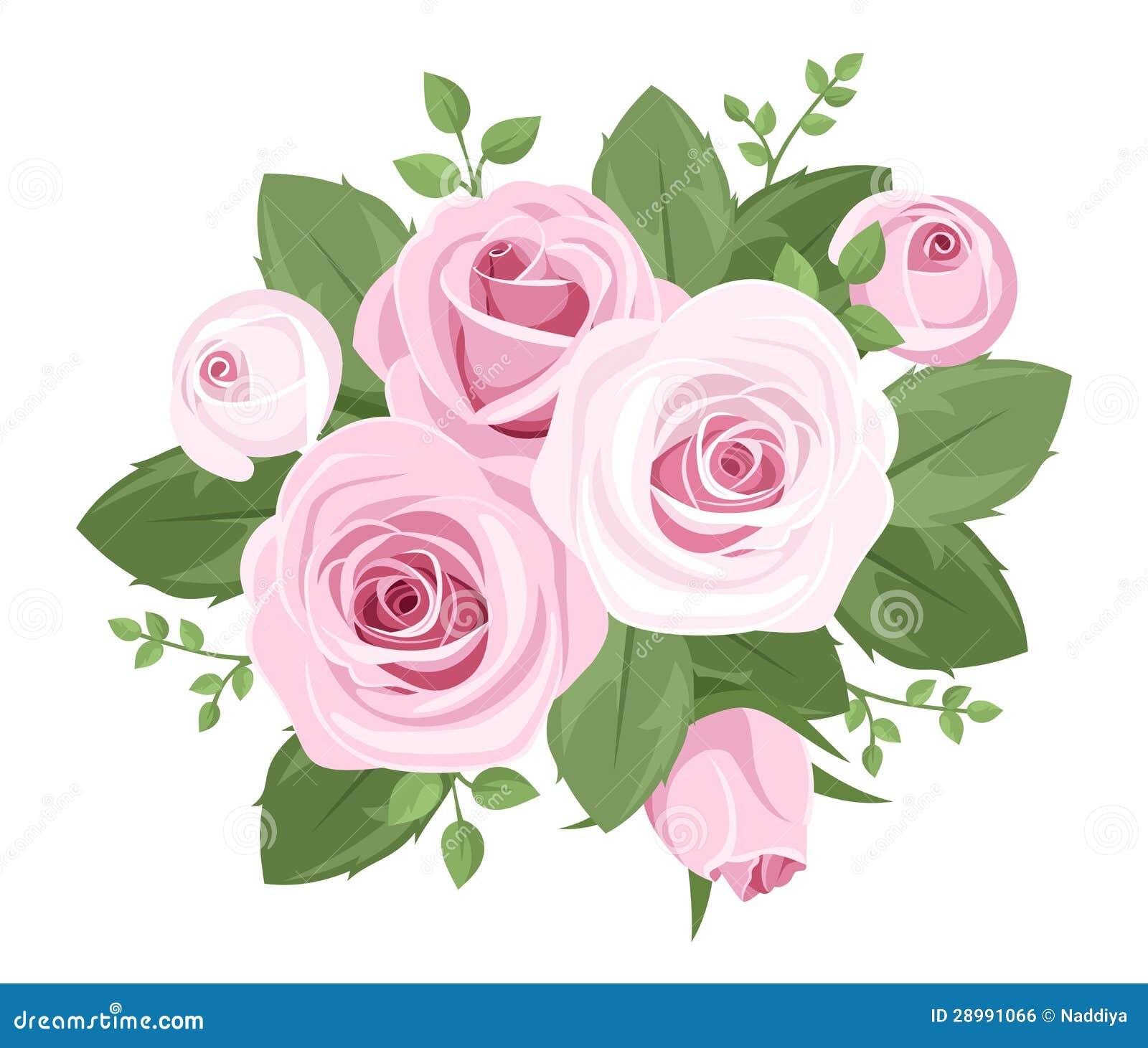 Розовые розы, rosebuds и листья.