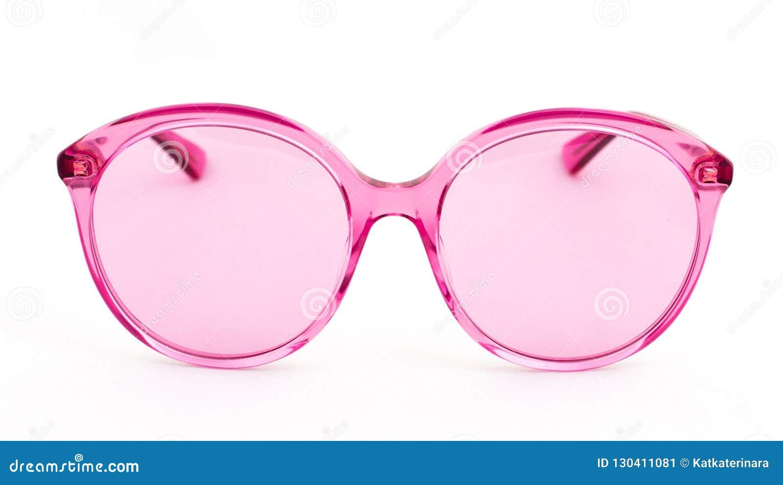 Розовые стекла солнца на белой предпосылке