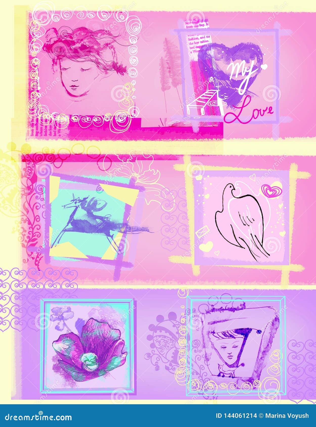 Розовый бегун для социальных сетей для женщин конструирует элементы любит сердца