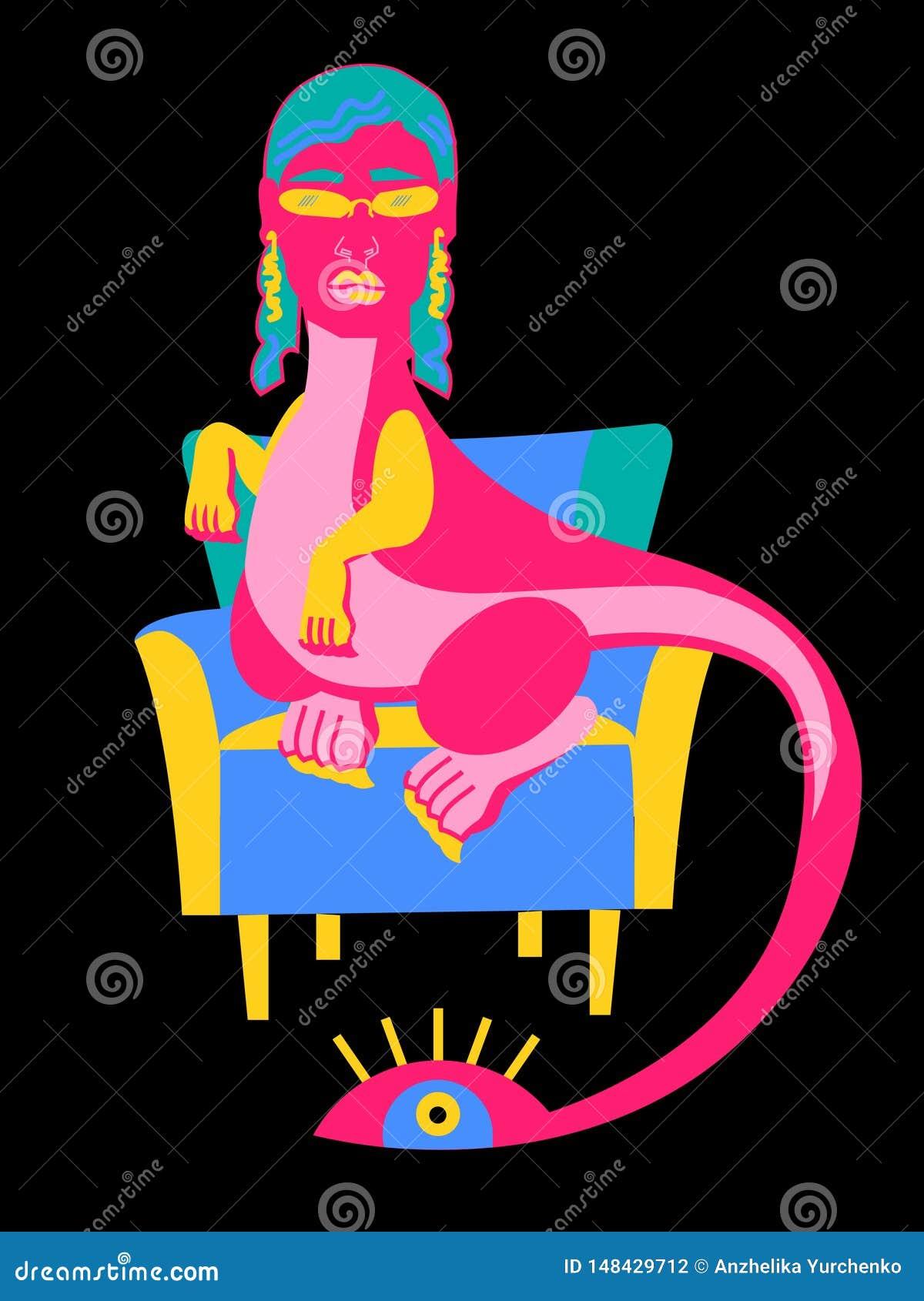 Розовый дракон в стуле в стуле