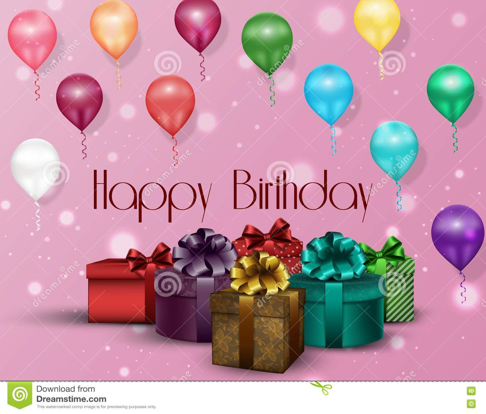 Download Розовый день рождения предпосылки партии с воздушными шарами и подарочными коробками цвета Иллюстрация вектора - иллюстрации насчитывающей плакат, vintage: 72286360