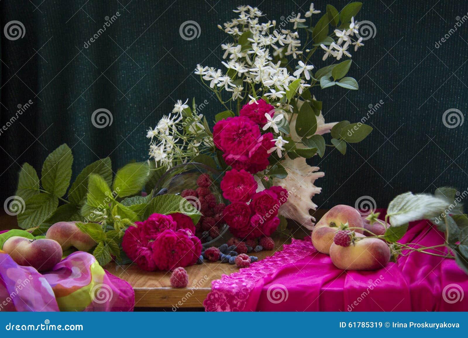 Розы с персиками