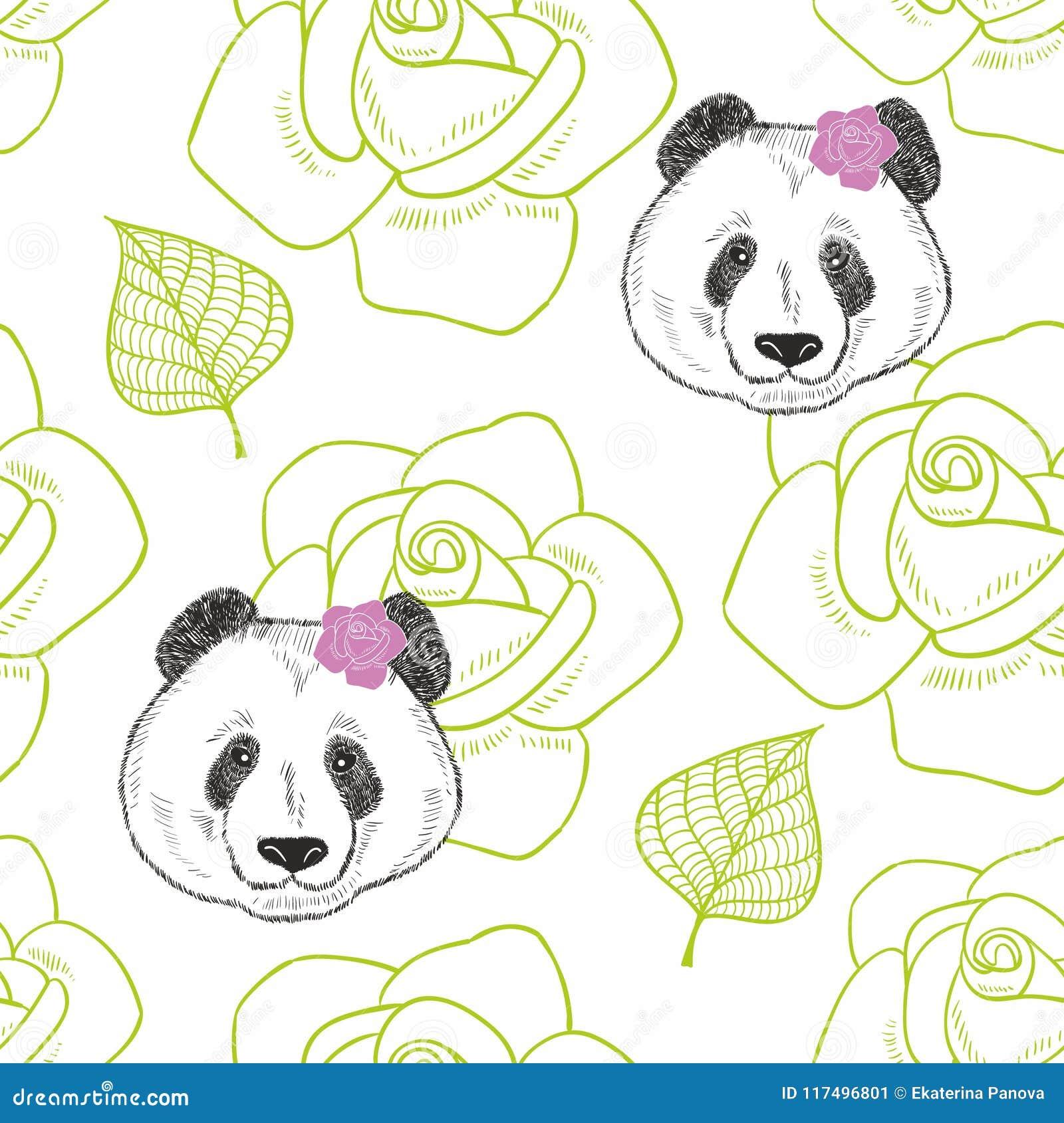 Романтичная безшовная картина с милой девушкой панды