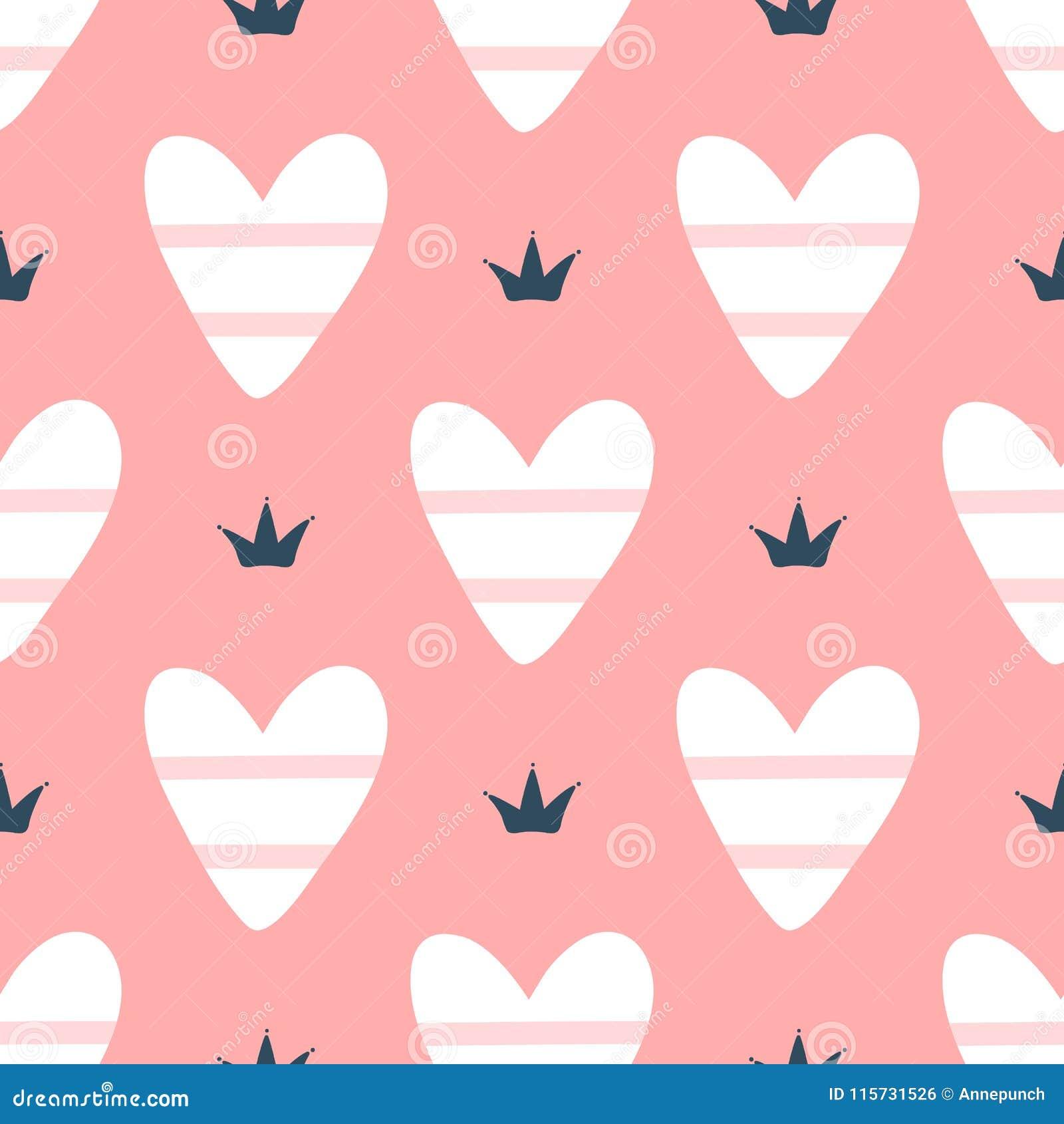 Романтичная безшовная картина с милыми striped сердцами и кронами Нарисовано вручную