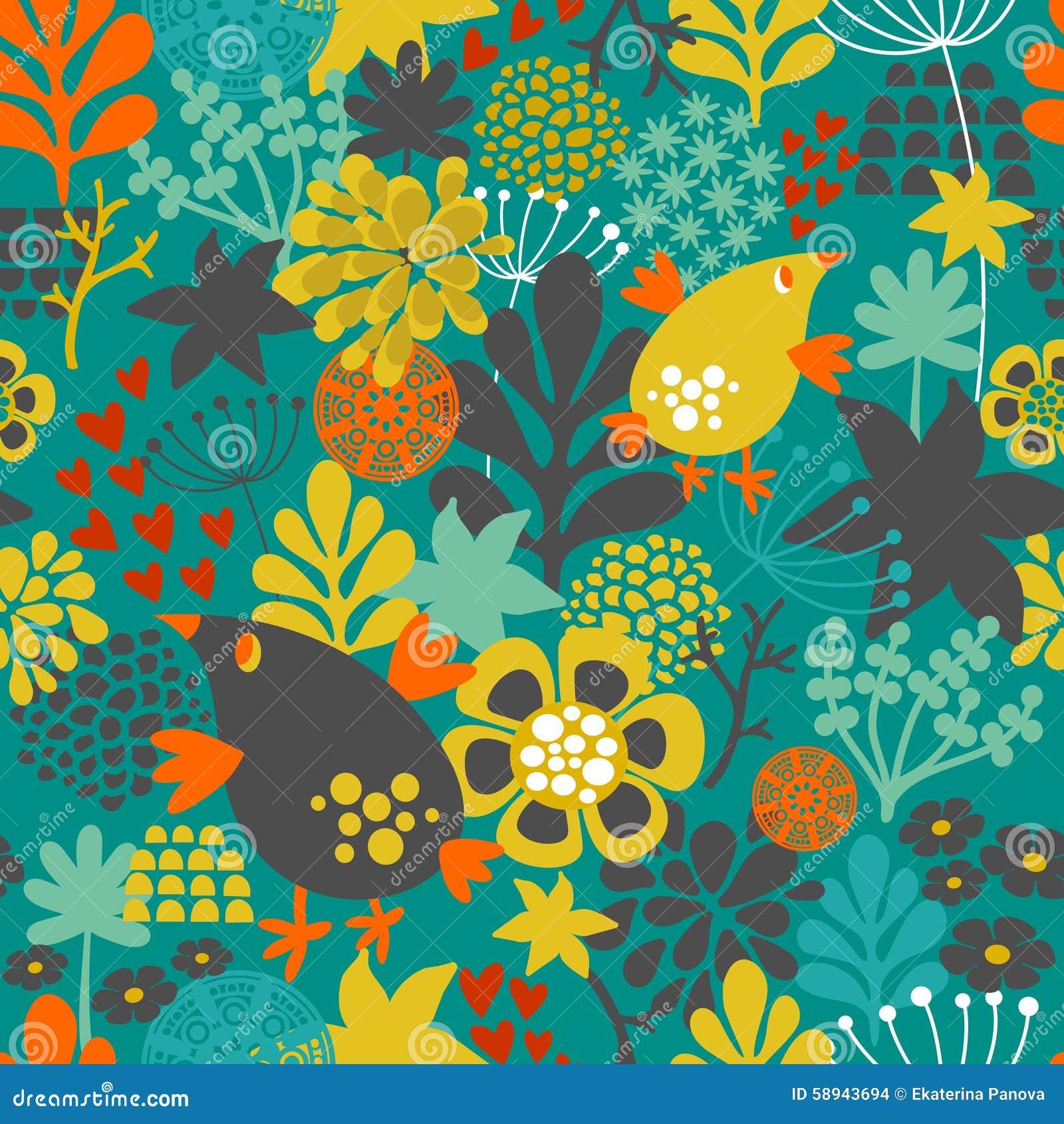 Романтичная безшовная картина с милыми винтажными цветками и птицами