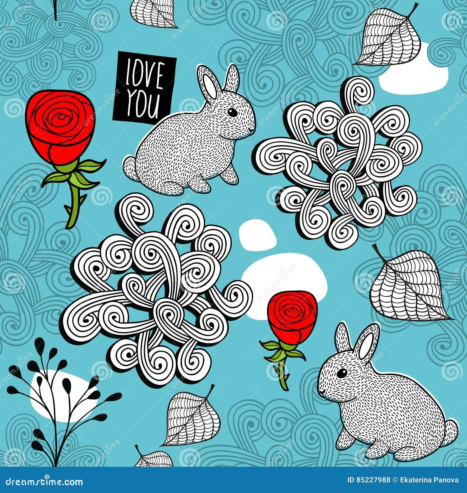 Романтичная безшовная картина с милыми кроликами и красными розами