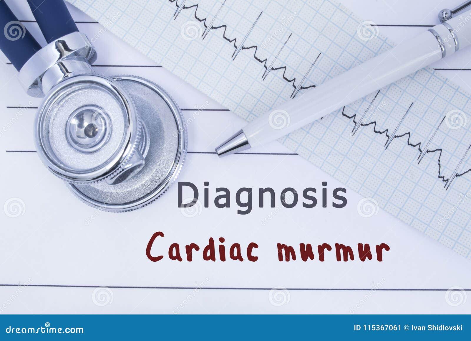 Ропот диагноза сердечный Стетоскоп или phonendoscope вместе с типом лож ECG на истории болезни с диагнозом Cardi названия