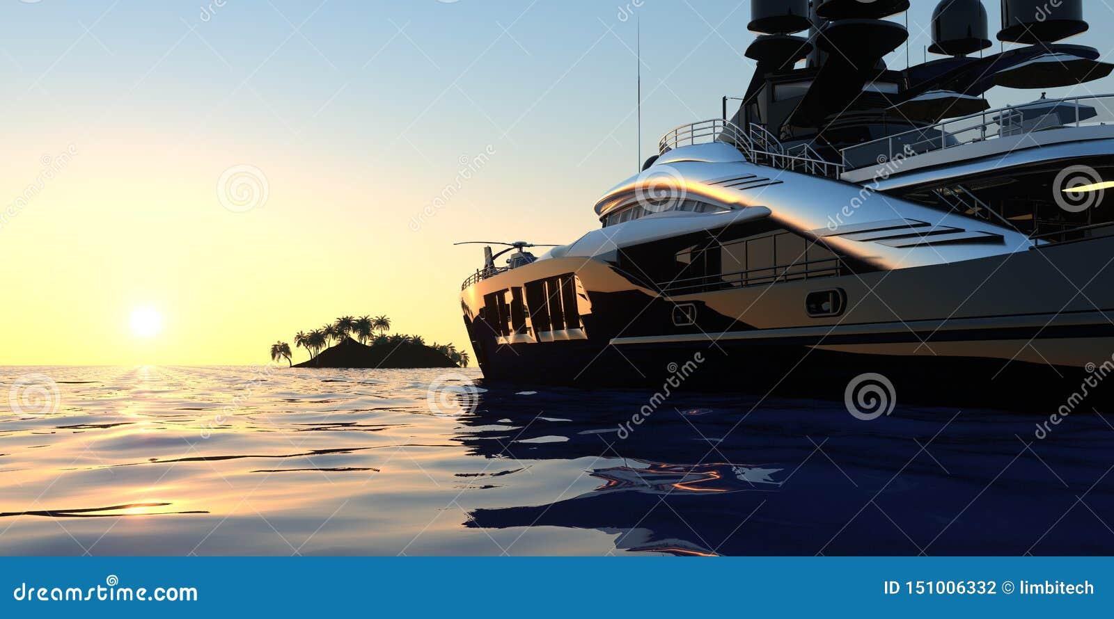 Роскошная супер яхта весьма детализировала и реалистическая высокая иллюстрация разрешения 3D