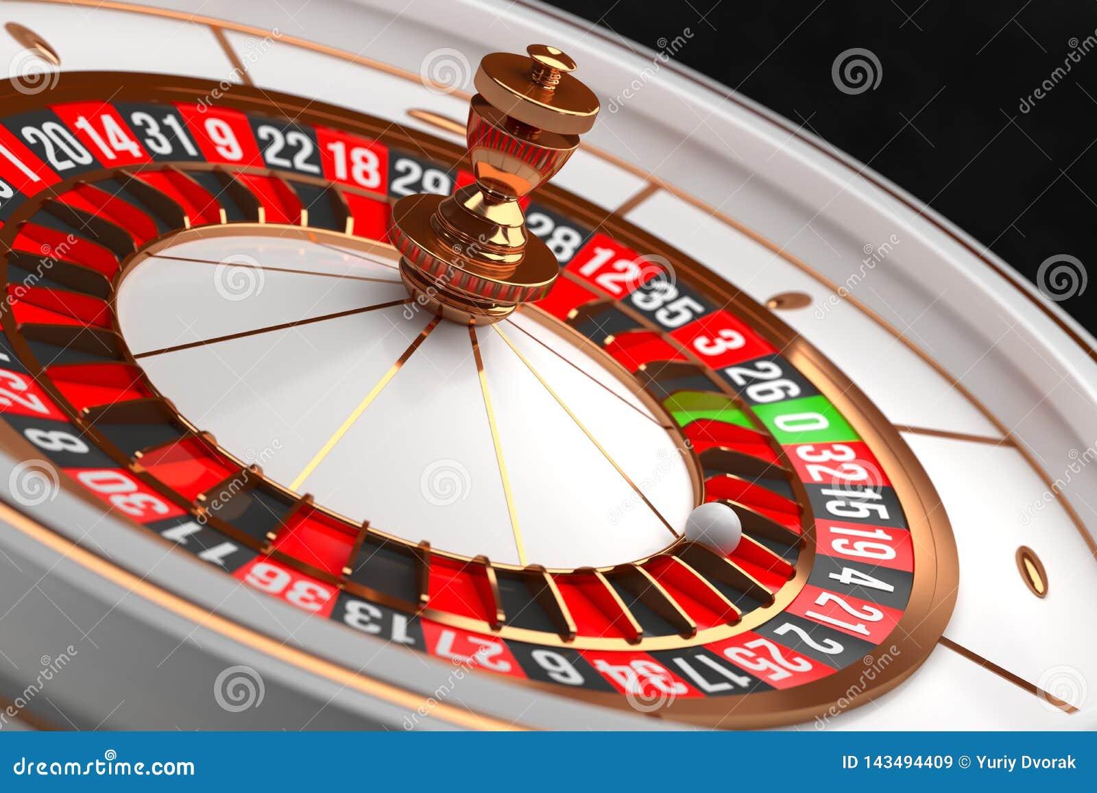 Роскошное колесо рулетки казино на черной предпосылке Тема казино Рулетка казино конца-вверх белая с шариком на 21 покер