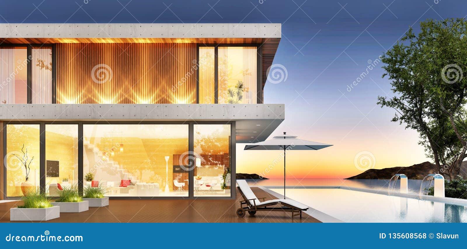Роскошный дом с бассейном и терраса для ослаблять