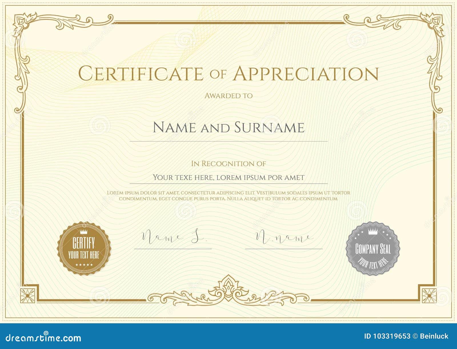 Роскошный шаблон сертификата с элегантной рамкой границы, дипломом d