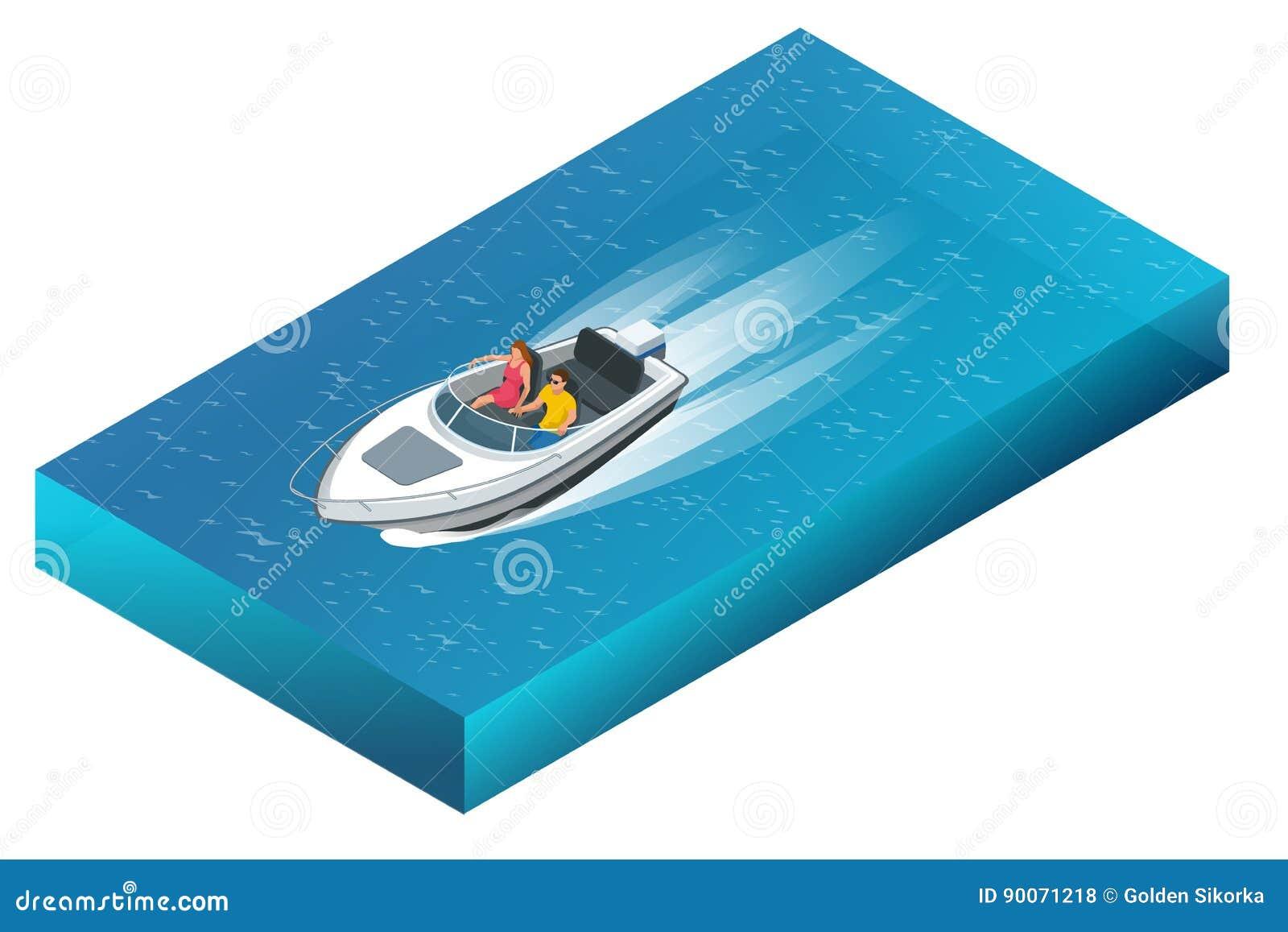 Роскошный powerboat при человек и женщина курсируя через красивые открытые моря Иллюстрация плоского вектора 3d равновеликая