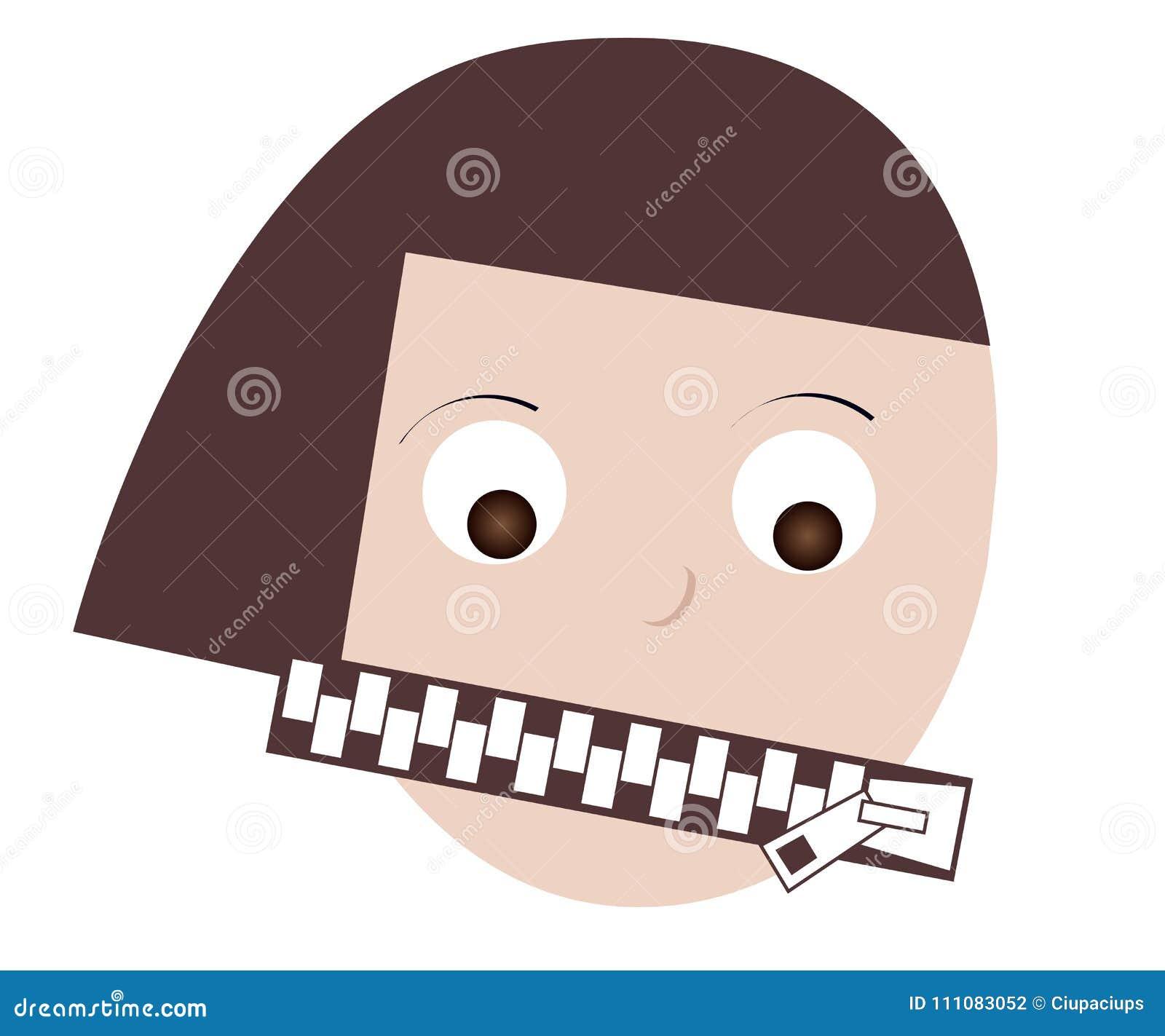 Рот женщины закрытый вверх по закрытой молнии Концепция ограниченного выражения, безмолвия, анонимности