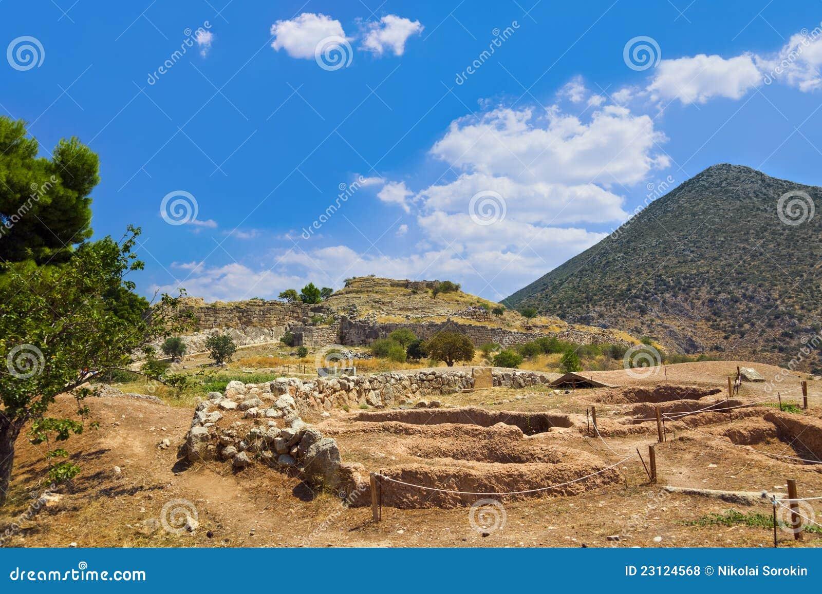 Руины Mycenae городка, Греция