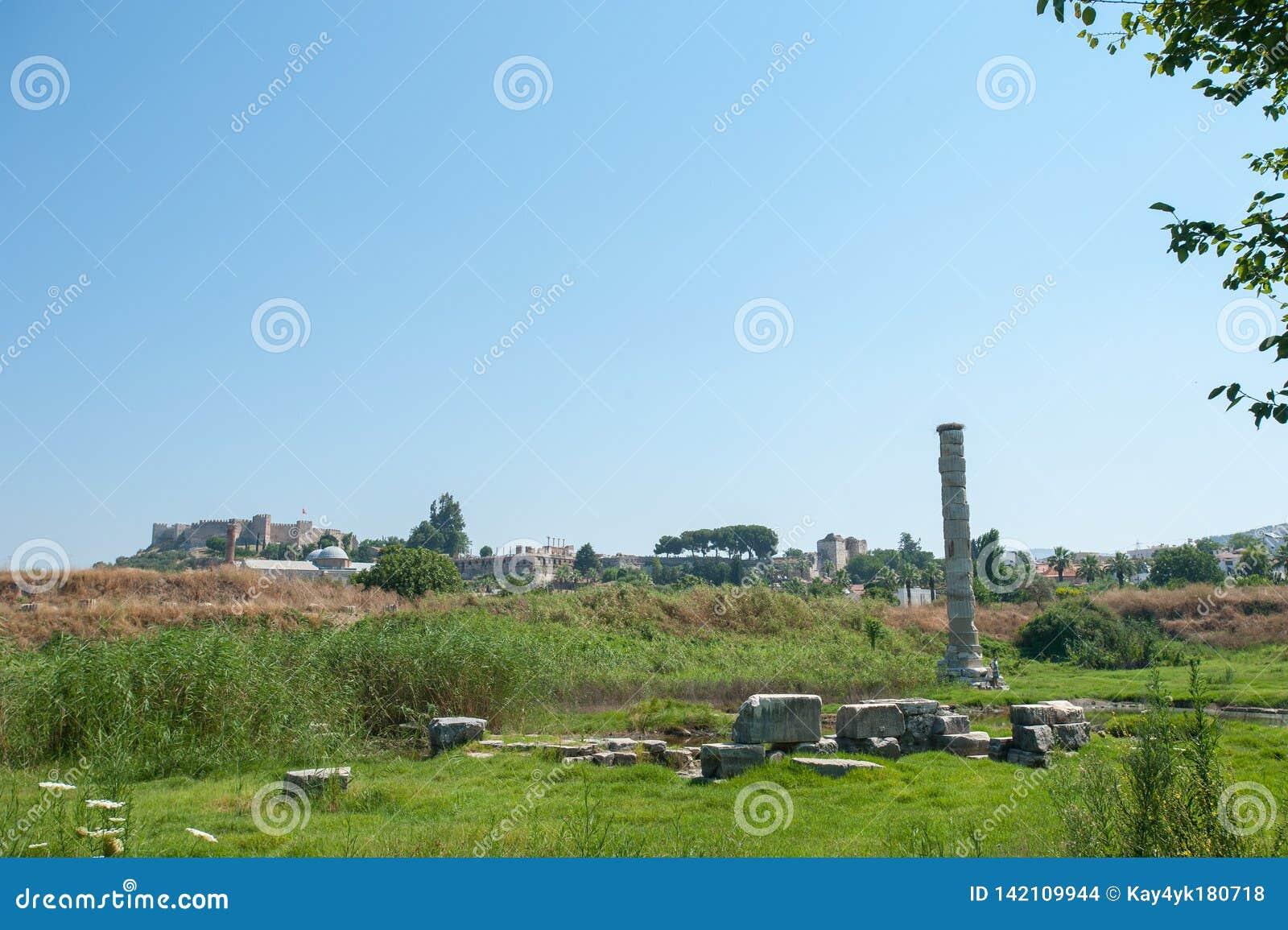 Руины Temple of Artemis, один из 7 интересов античного мира Selcuk, Турция, наши дни