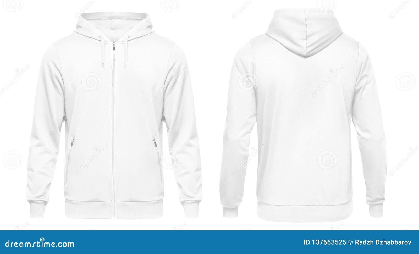 Рукав белой мужской фуфайки hoodie длинный с путем клиппирования, модель-макетом дизайна людей hoody для печати, изолированным на