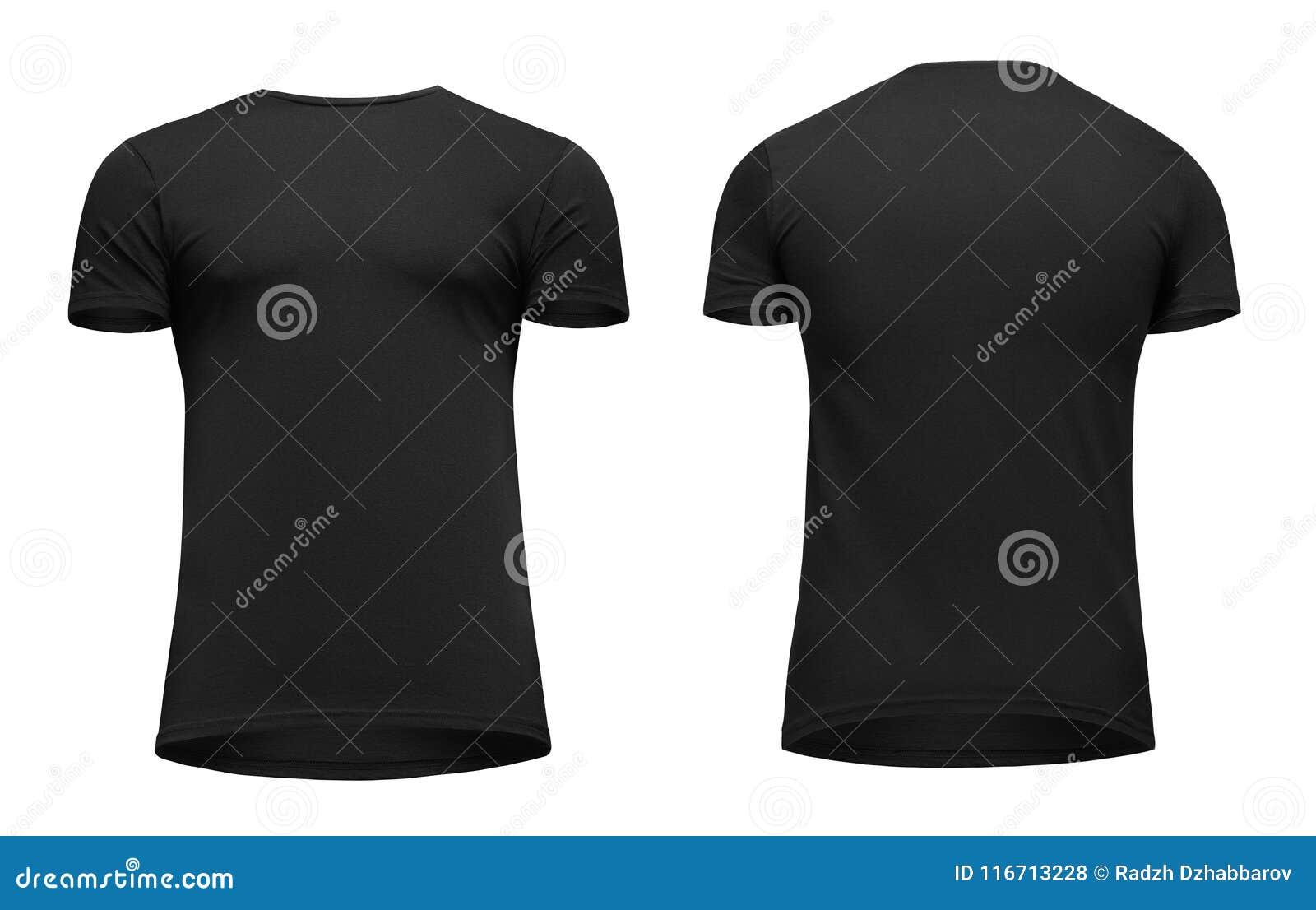 Рукав краткости футболки пустых людей шаблона черный, фронт и задний взгляд вверх ногами, изолированный на белой предпосылке с пу