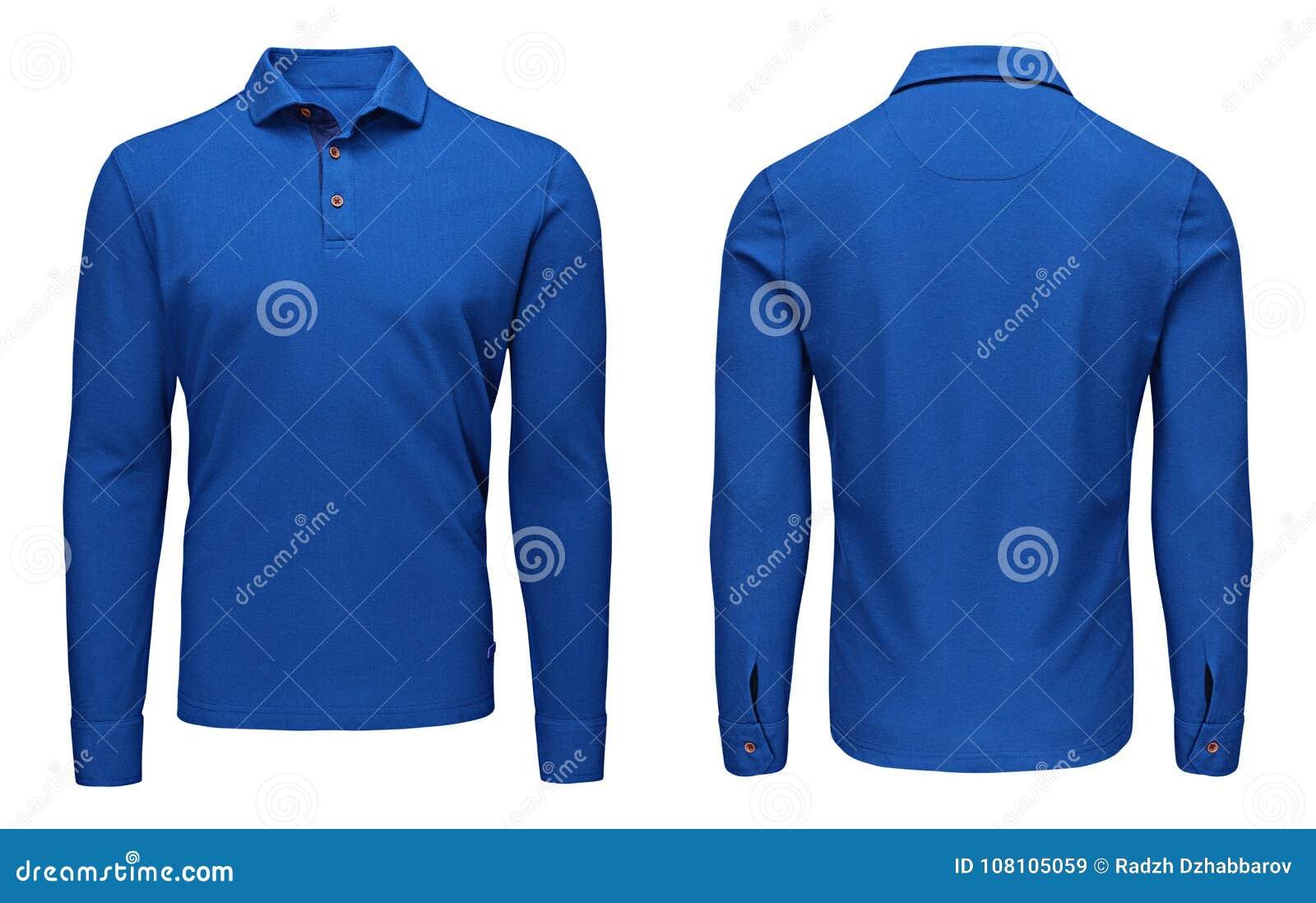 Рукав рубашки поло пустых людей шаблона голубой длинный, фронт и задний взгляд, белая предпосылка Модель-макет фуфайки дизайна дл
