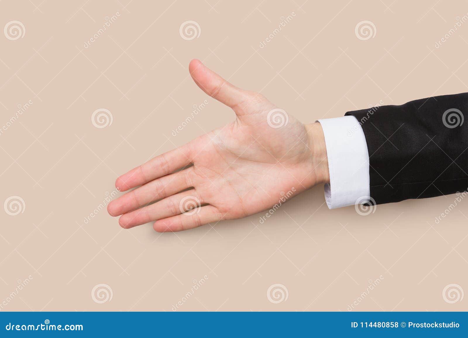 Рука готовая для рукопожатия изолированного на белизне