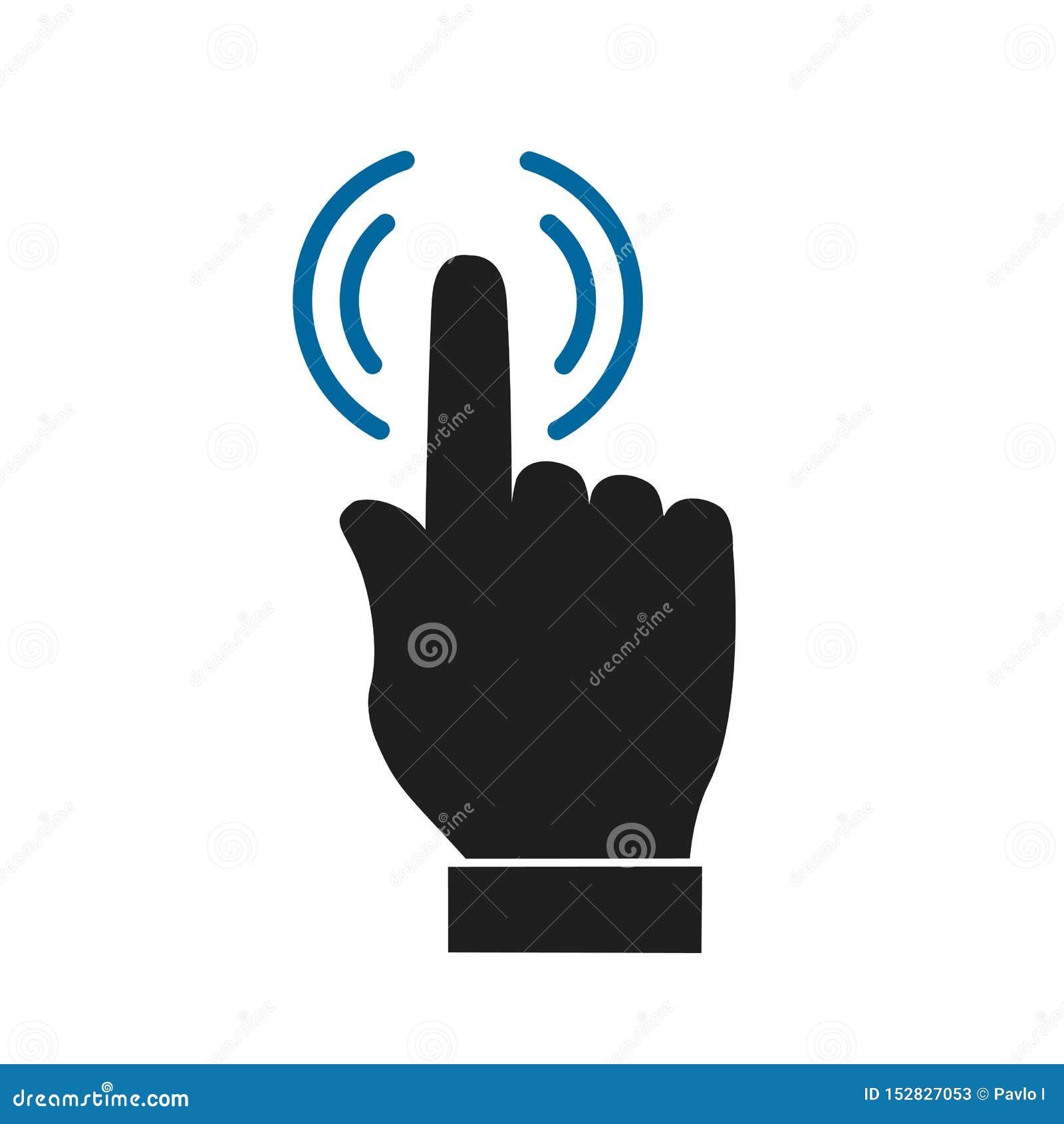 Рука делая значок выбора, знак нажмите здесь – для запаса