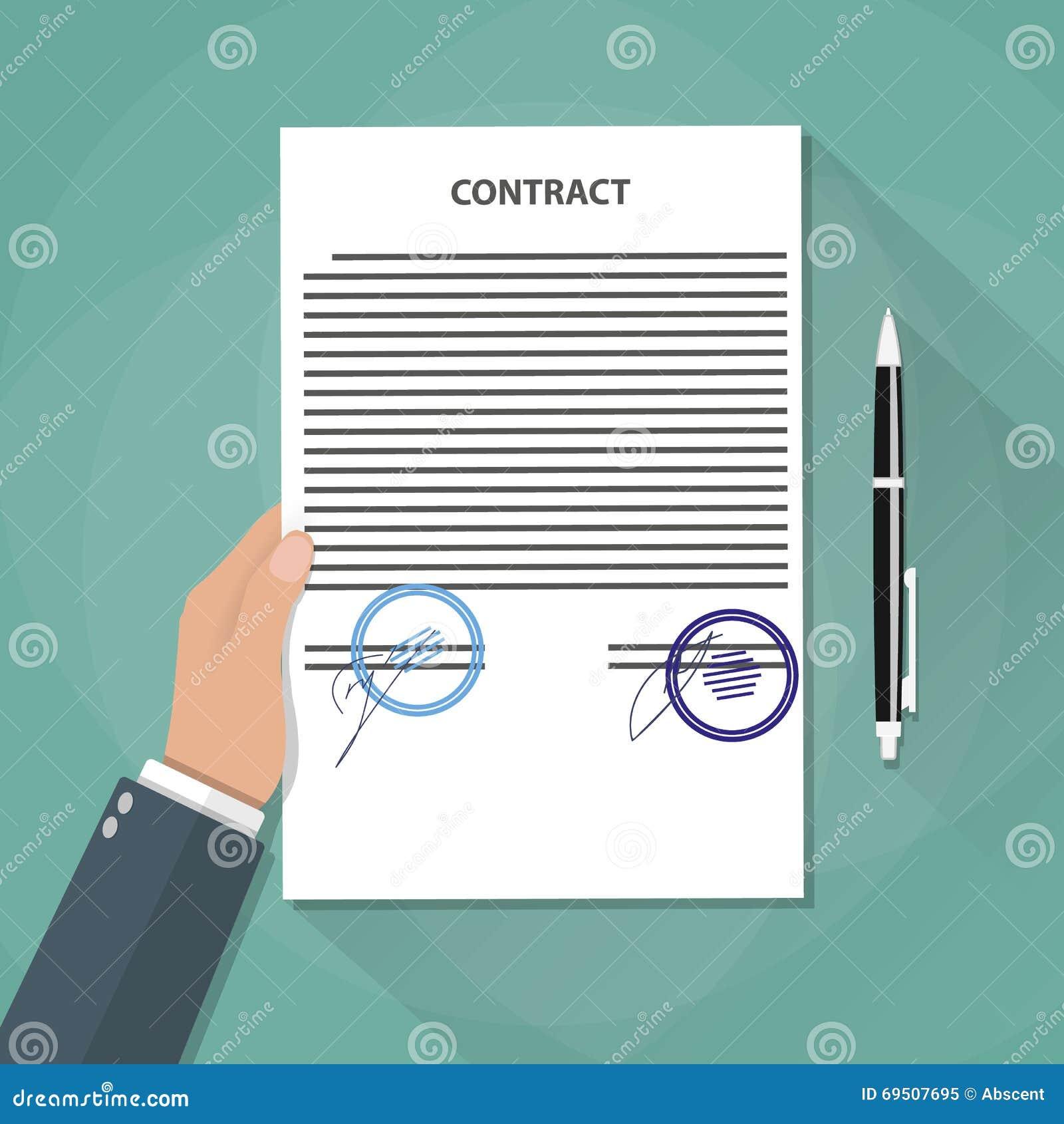Рука держит документы контракта