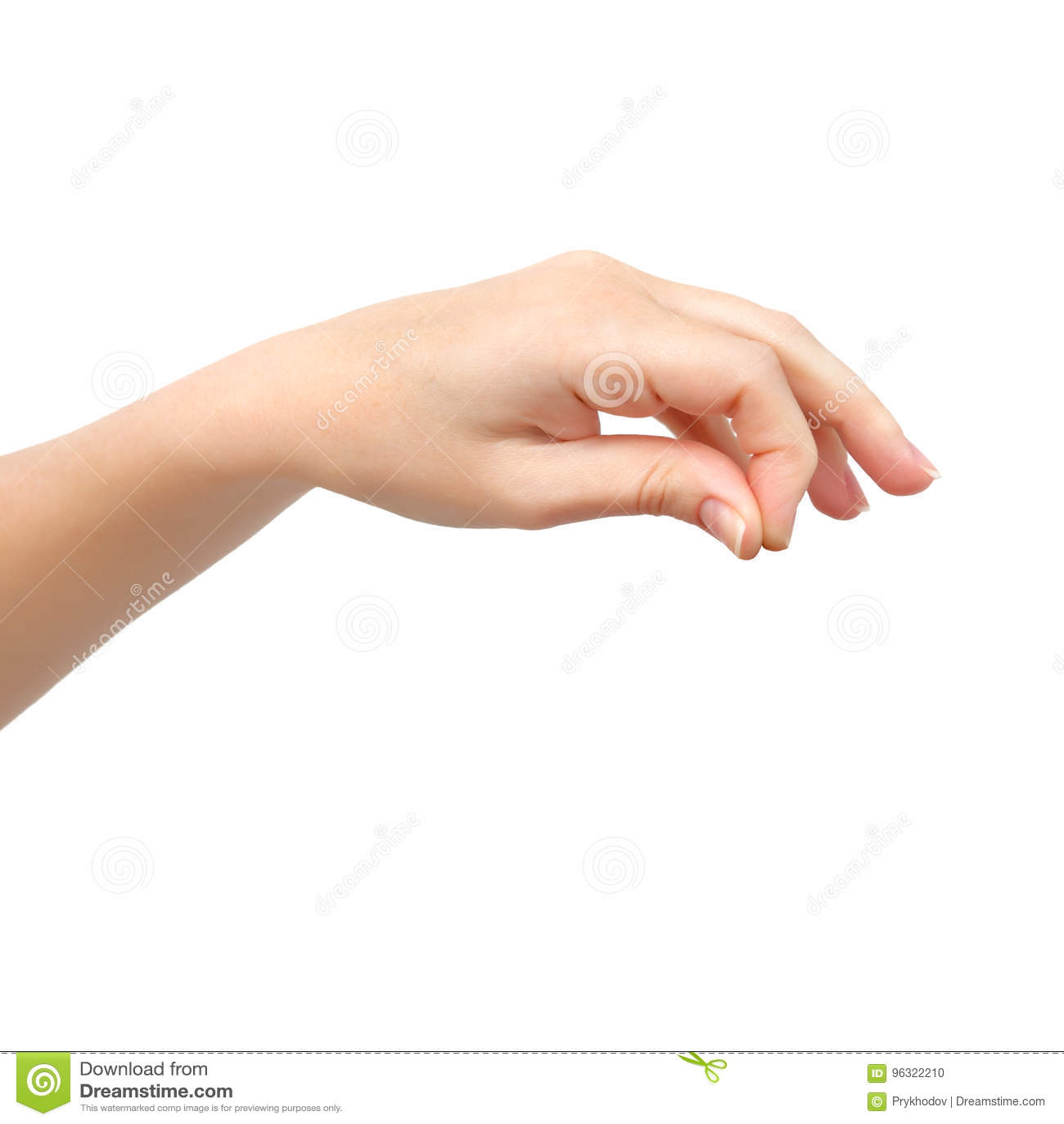 Рука женщины на изолированной предпосылке держа объект