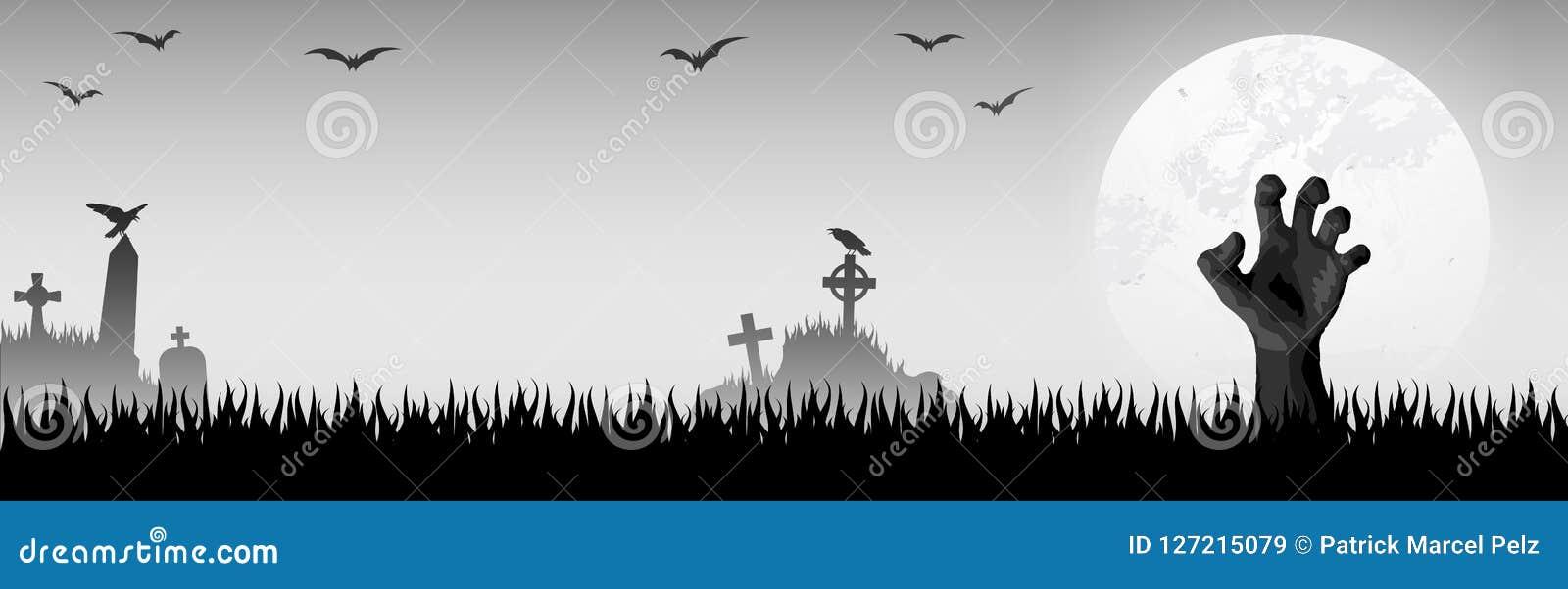 рука зомби хеллоуина перед полнолунием