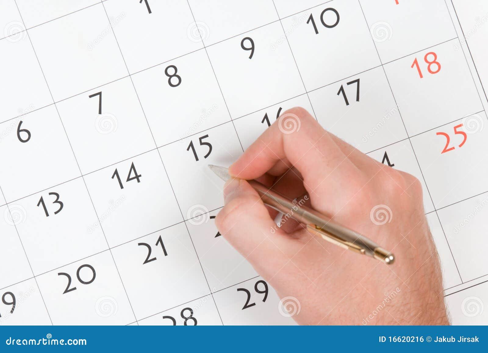 рука календара пишет