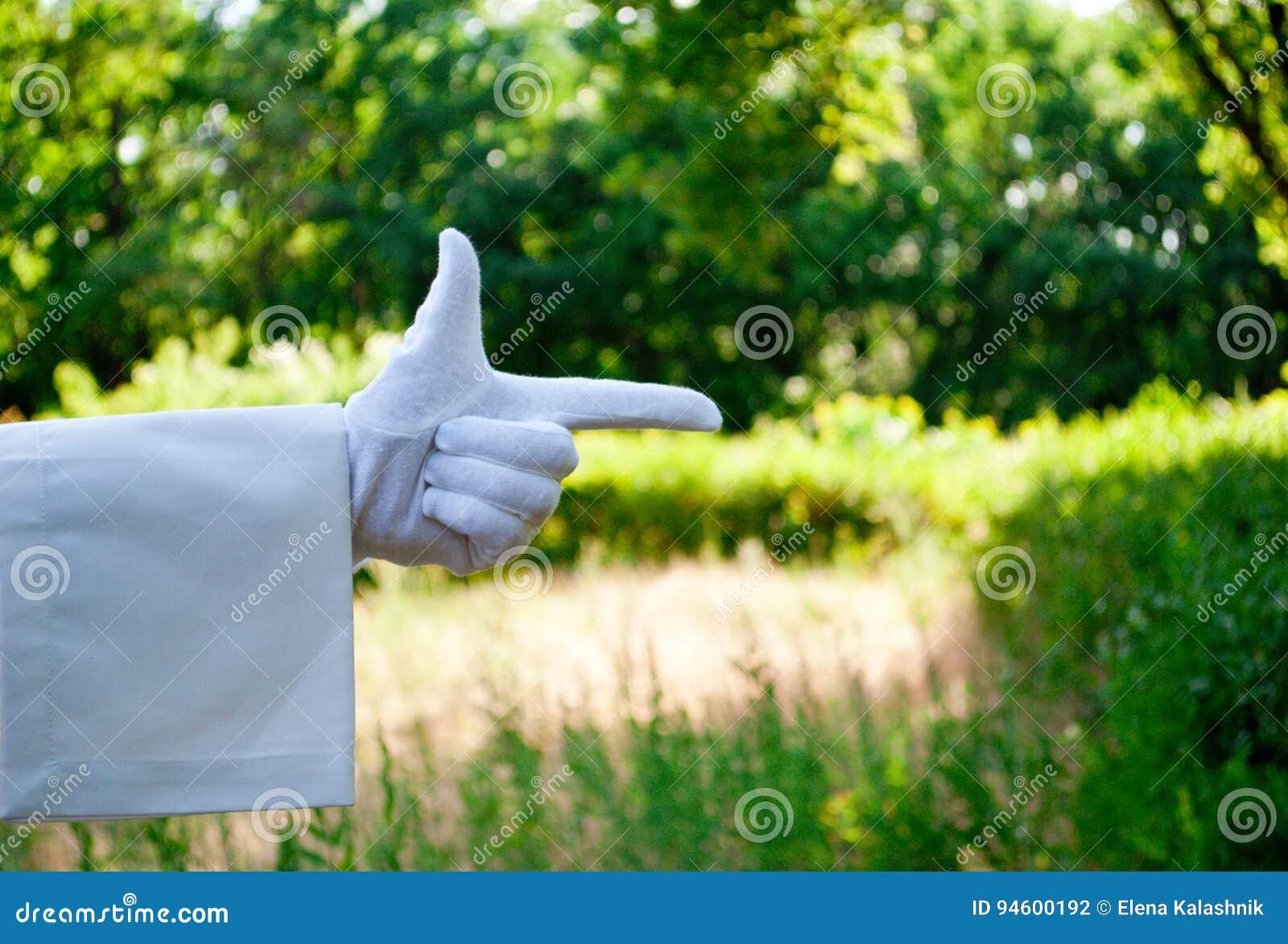 Рука кельнера в белой перчатке показывая знак против предпосылки природы