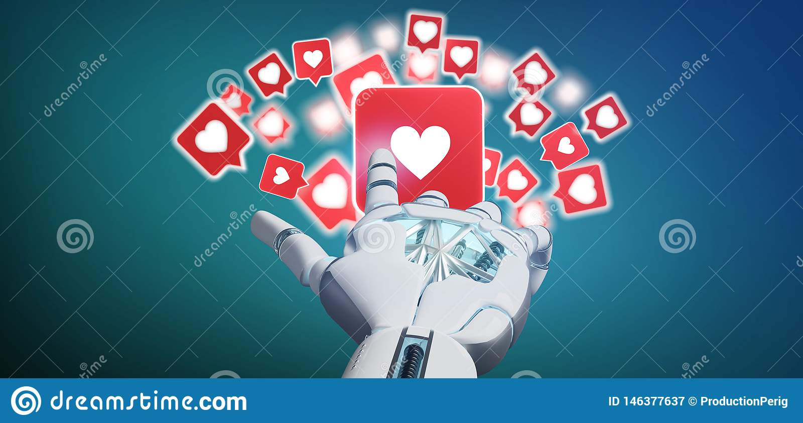 Рука киборга держа вероятное уведомление на социальном переводе средств массовой информации 3d