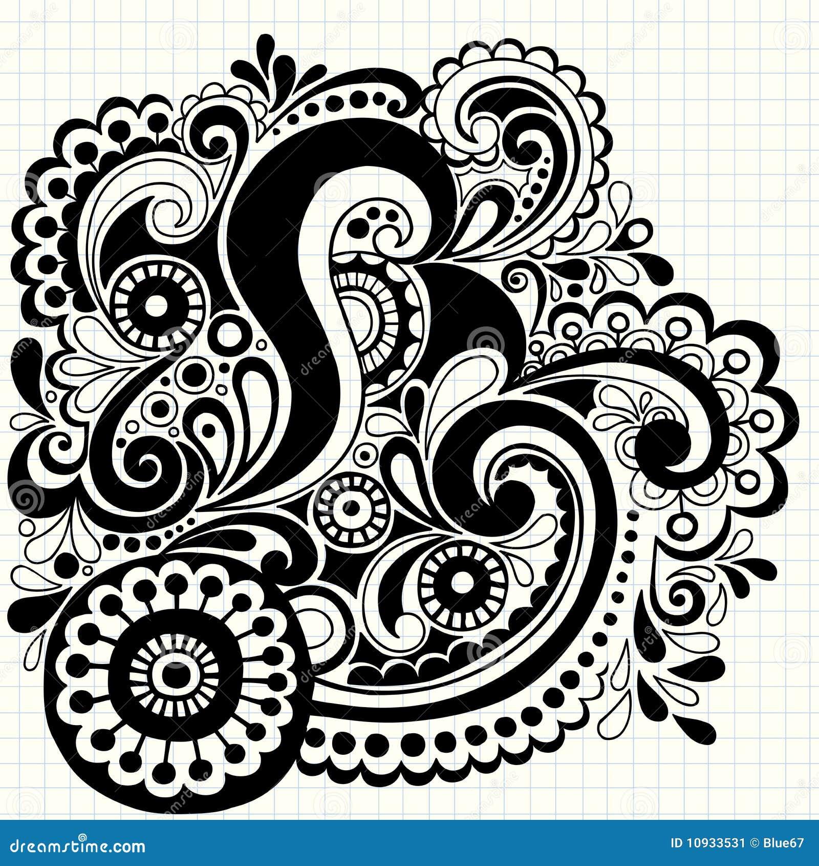 рука нарисованная doodle завихряется вектор