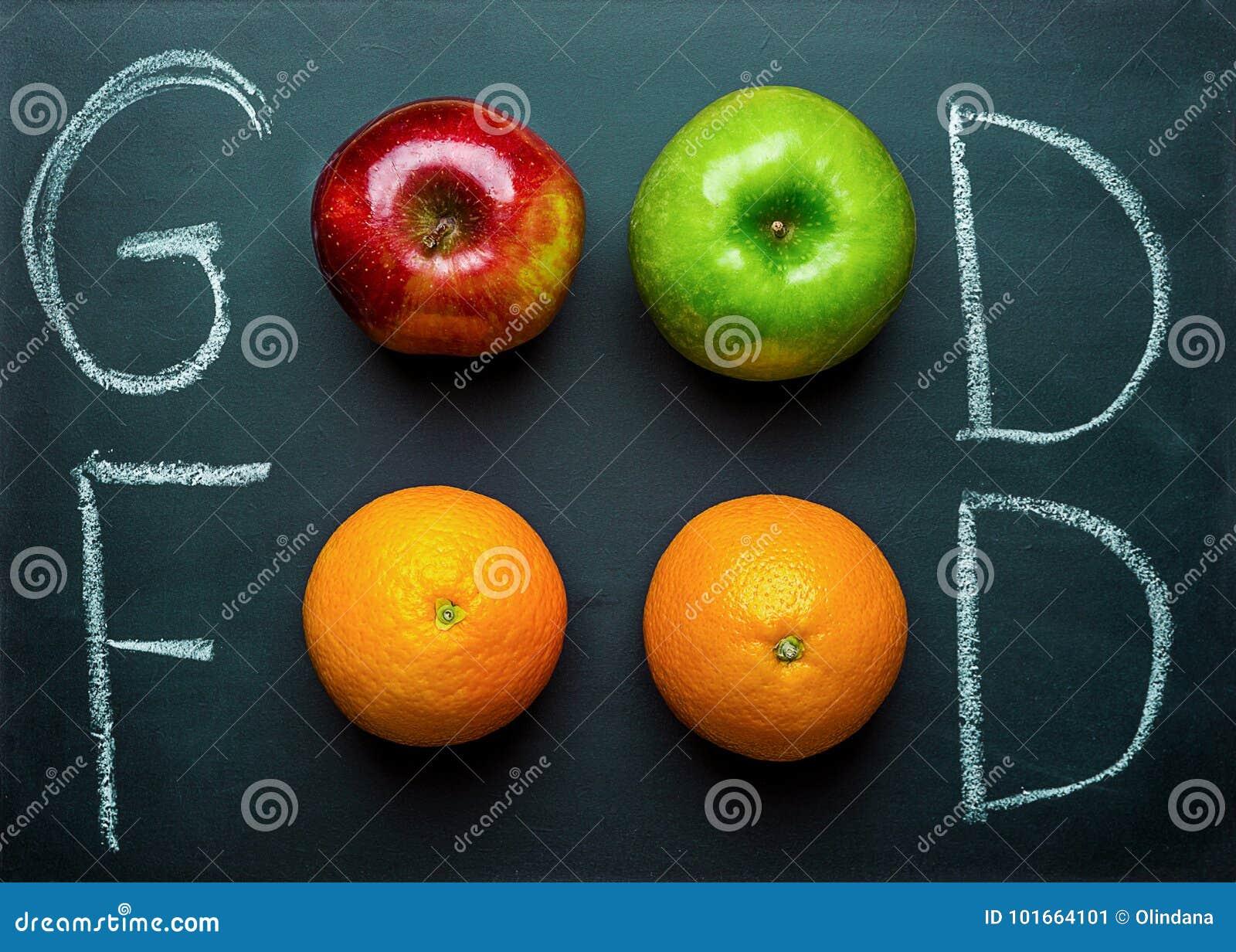 Рука помечая буквами хорошую еду на черной доске с яблоками красного цвета зеленого цвета апельсинов плодоовощей Здоровый чистый