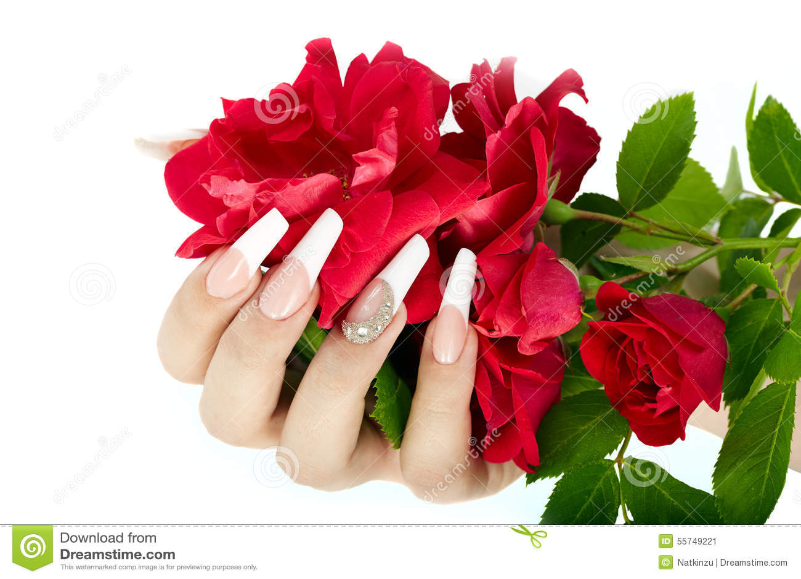 Французский маникюр роза