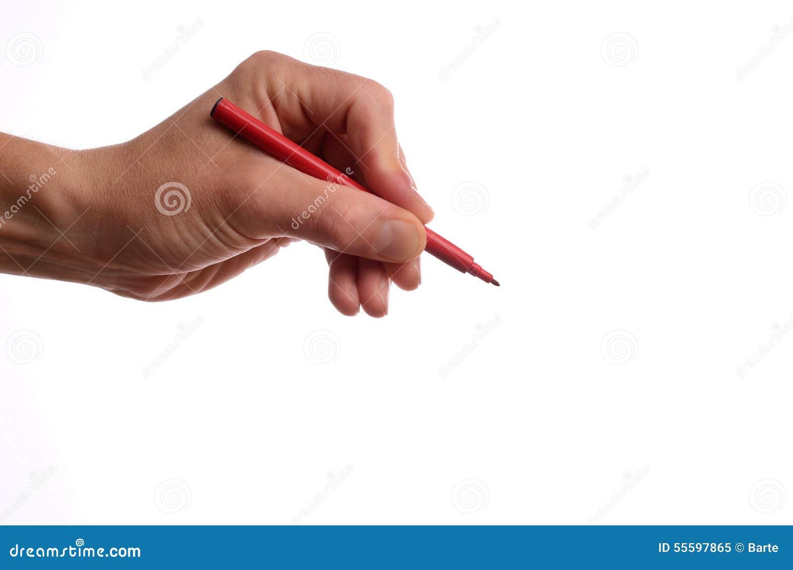 Рука с красной ручкой
