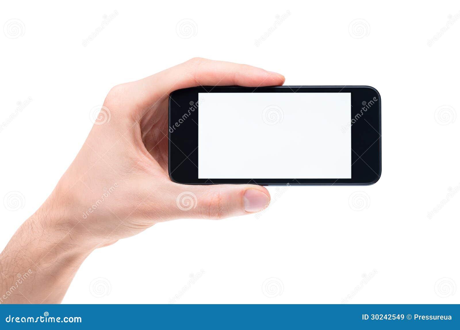 Рука держа пустое iphone яблока