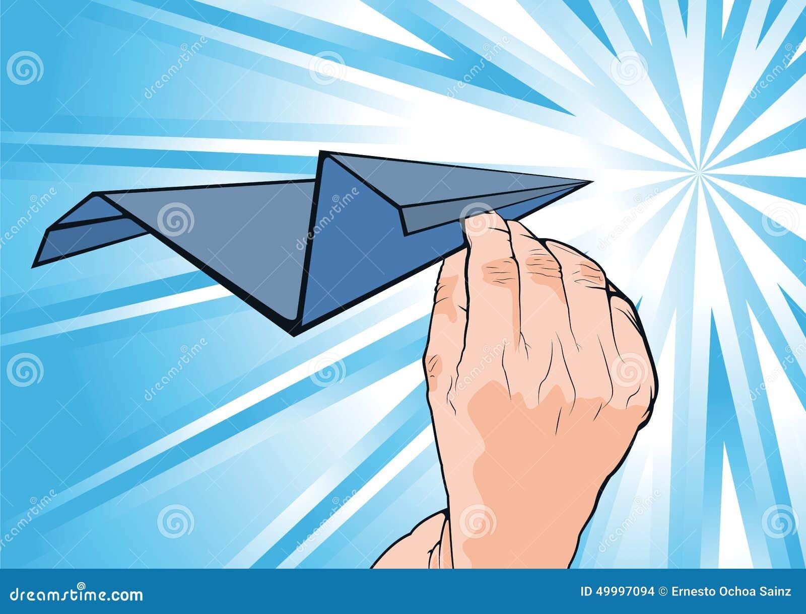 Рука Cartooned человеческая держа самолет бумаги