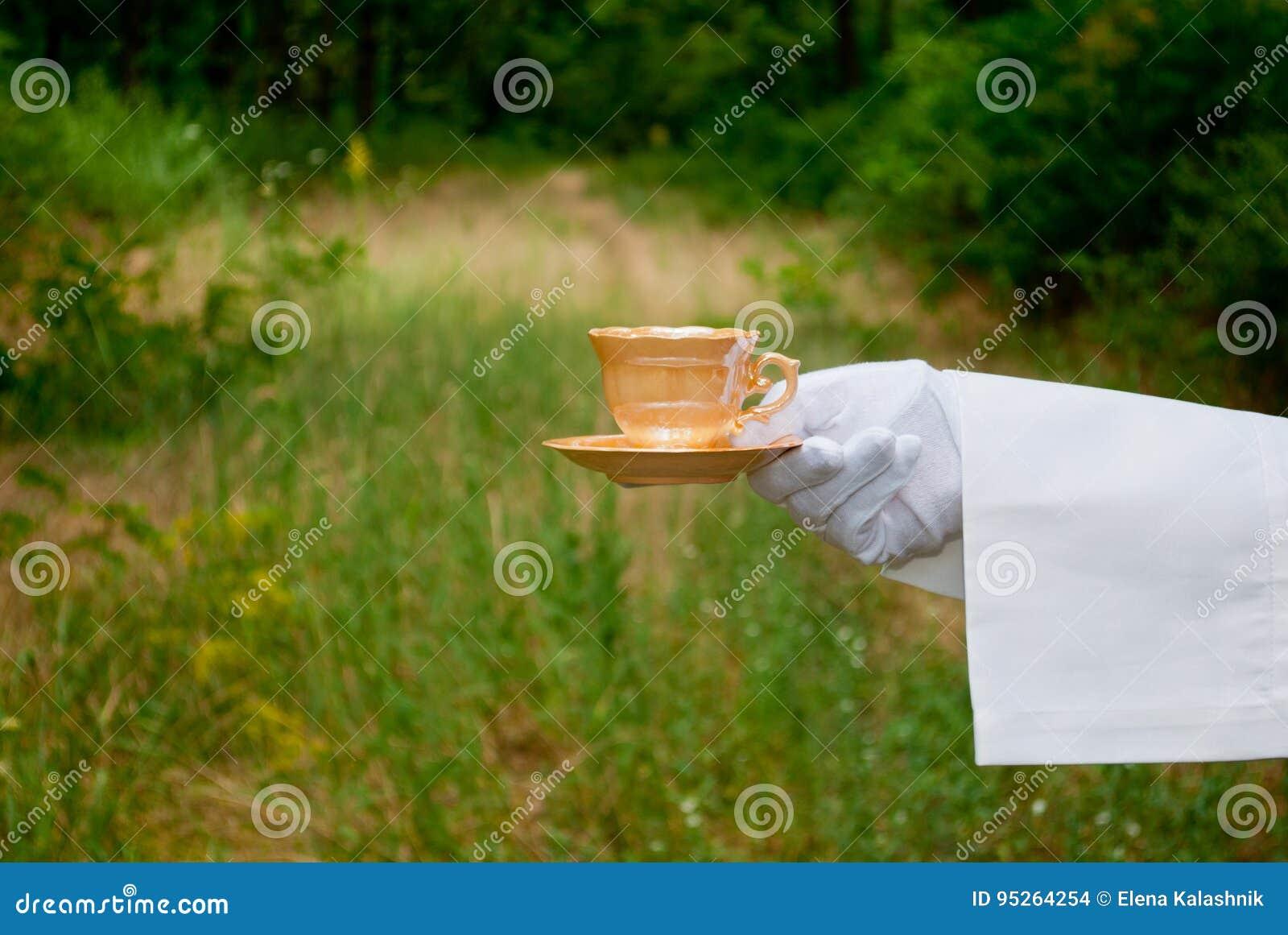Рука ` s кельнера в белой перчатке держит бежевую чашку и поддонник на открытом воздухе