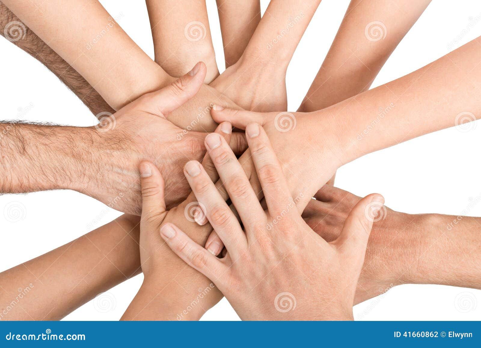 Руки держа совместно