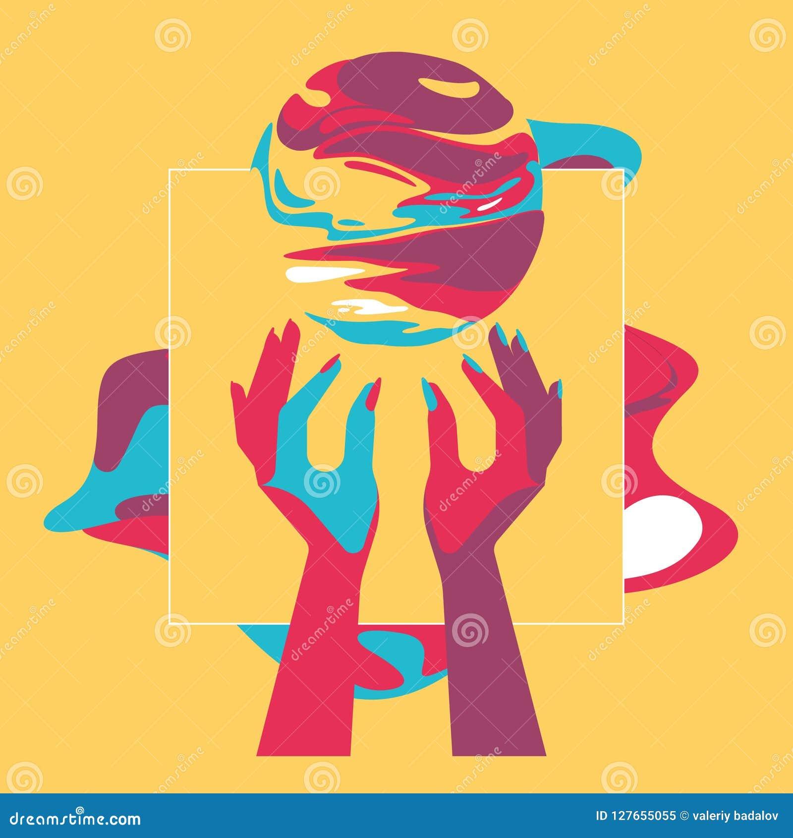 2 руки и шарика фантазии, стиль искусства шипучки, цвета контраста, плоская иллюстрация, Dreamland, выдуманный мир