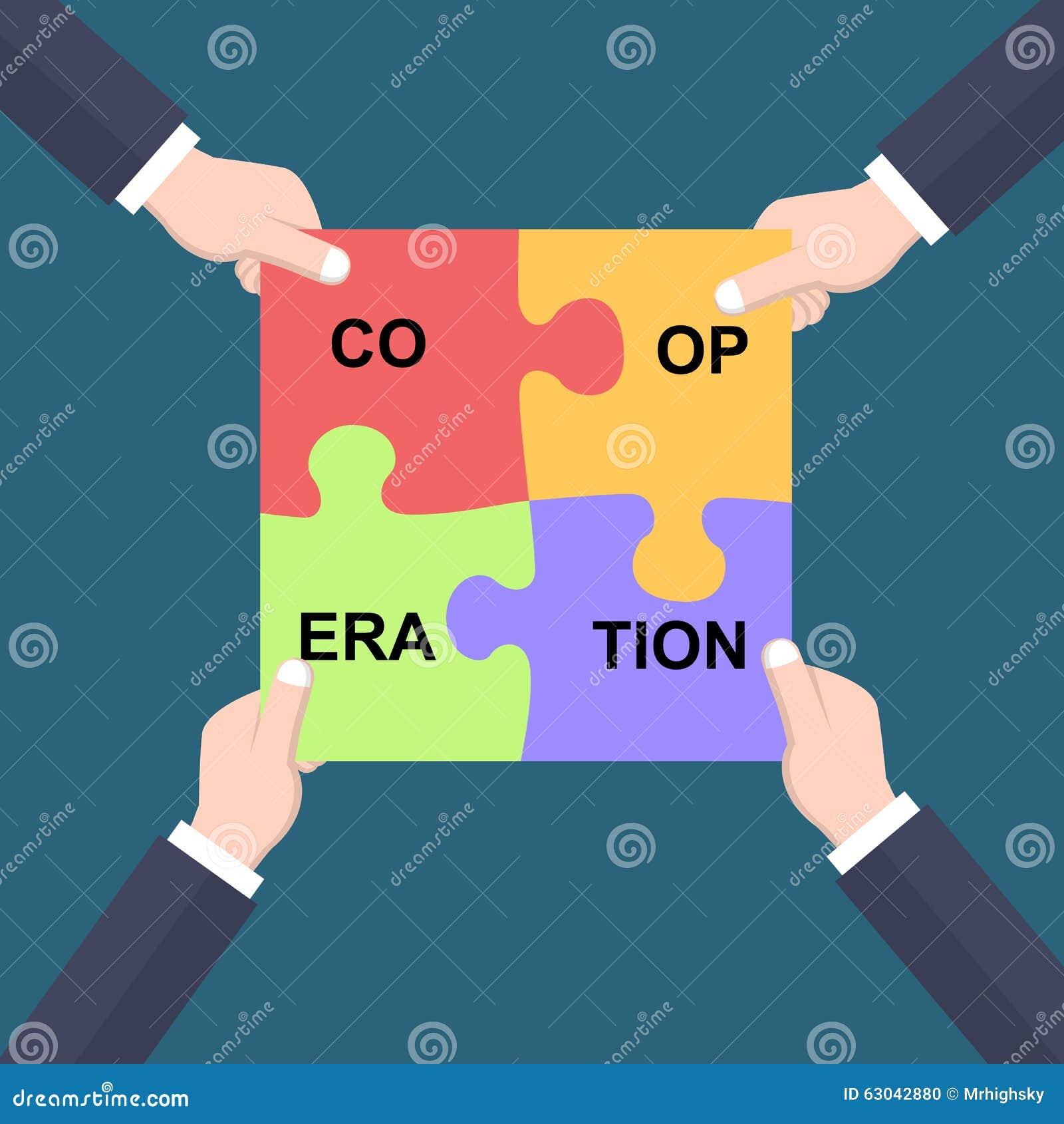Руки концепции сотрудничества соединяя части головоломки
