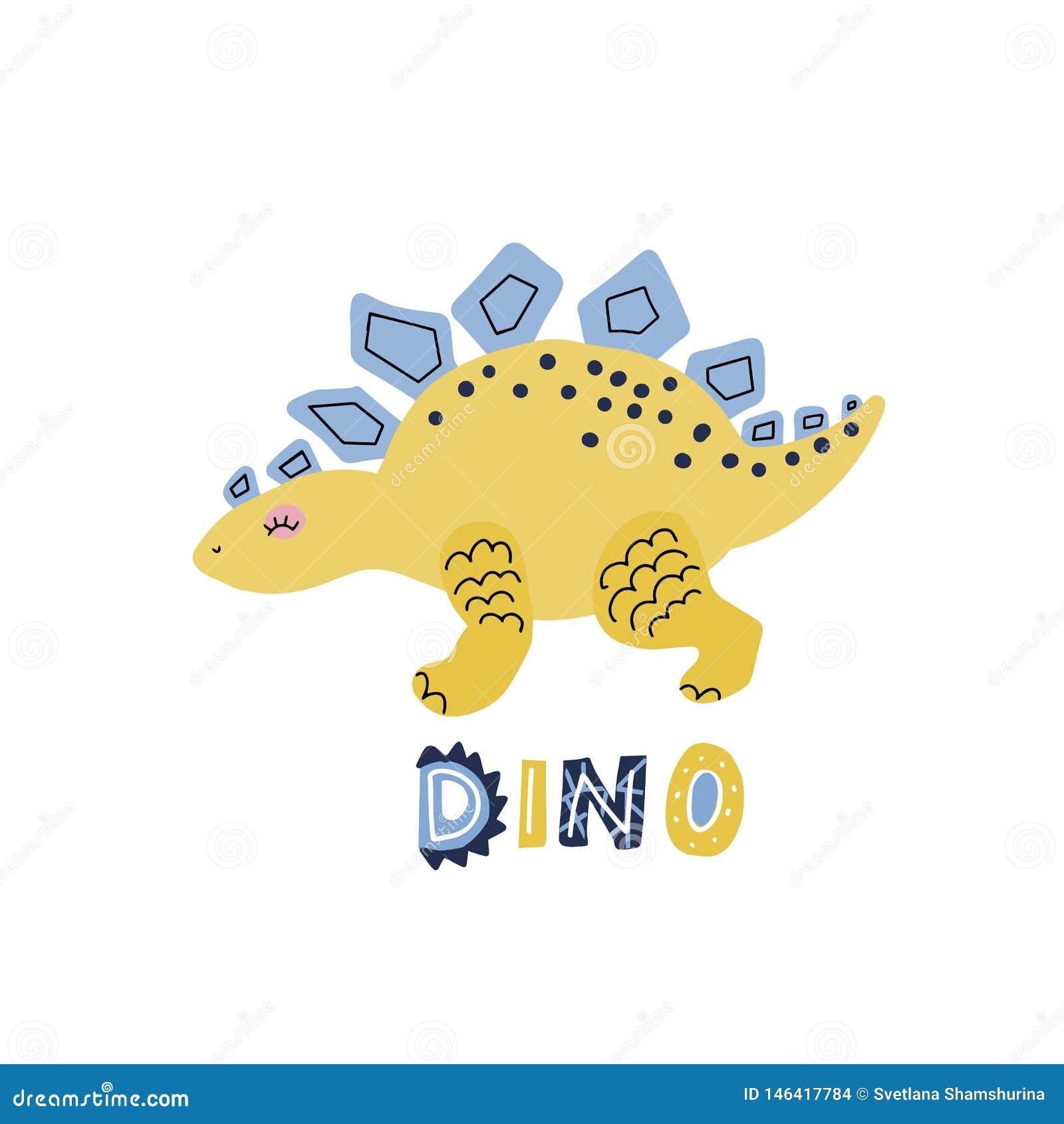 Руки мультфильма вектора стегозавр динозавра милой вычерченный с помечать буквами qoute Dino Иллюстрация вектора скандинавского х