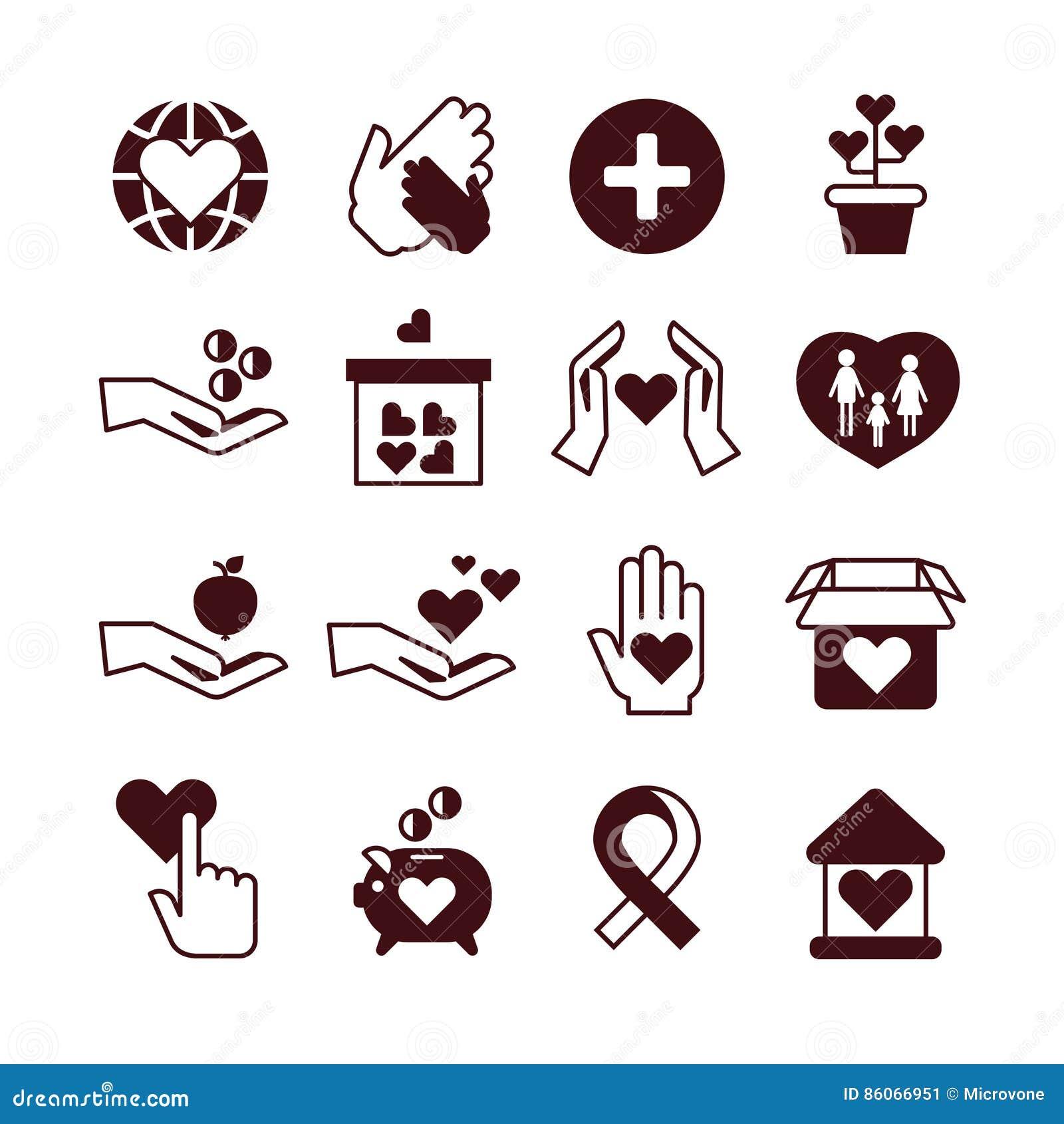 Руки призрения, забота и защита, fundraising обслуживание, пожертвование, некоммерческая организация, значки вектора привязанност
