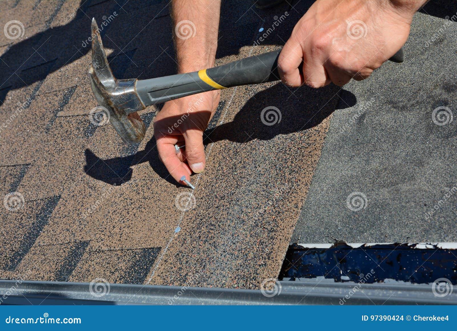 Руки работника устанавливая гонт крыши битума Молоток работника в ногтях на крыше Roofer бьет ноготь молотком в гонт крыши
