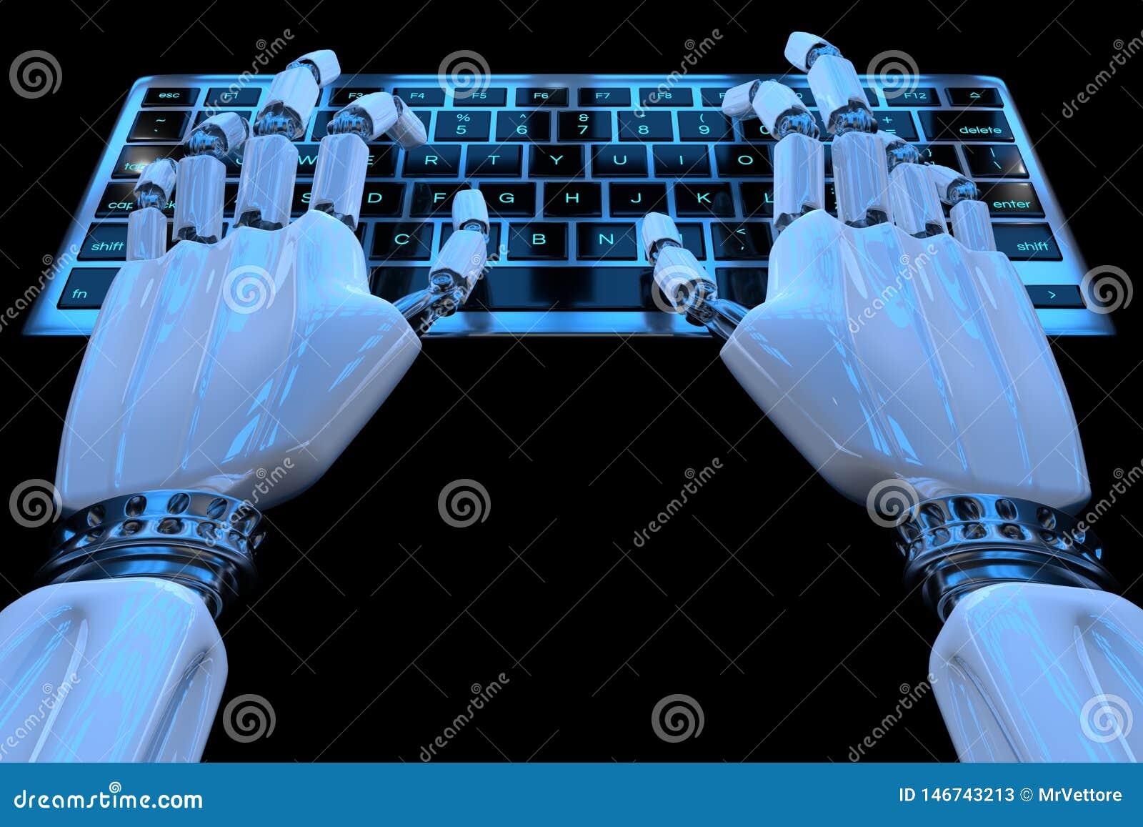 Руки робота ai печатая на кнопочной панели Робототехническая рука киборга руки используя компьютер клавиатуры r
