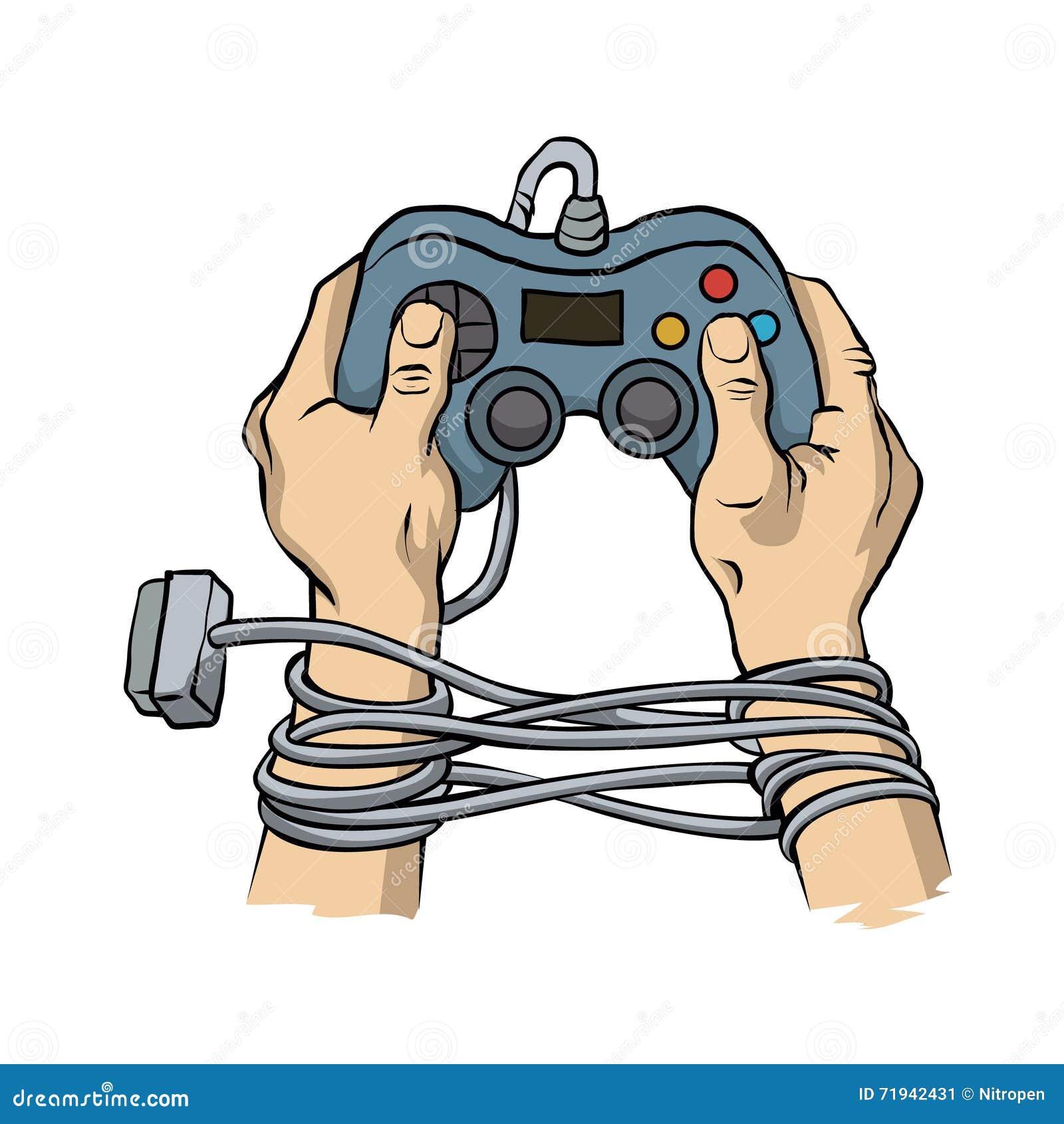 Руки связанные регулятором игры провода Концепция зависимости игры